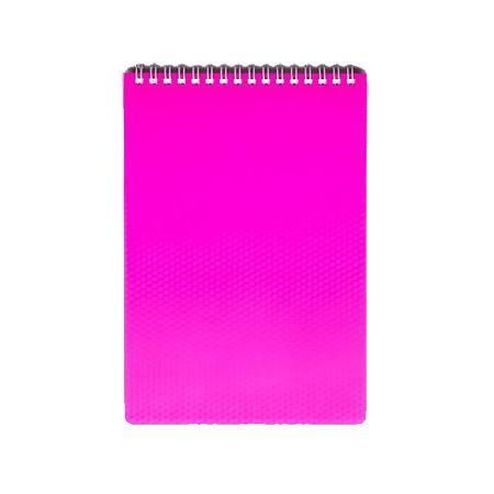 Блокнот 80л А5ф Пластиковая обложка на гребне DIAMOND НЕОН розовый72523WDБлокнот с обложкой из картона, защищающей бумагу от деформации.