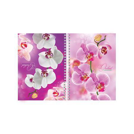 Тетрадь двойная с твердой обложкой 80л А5ф на гребне Орхидея72523WDТетрадь с обложкой из картона, защищающей бумагу от деформации.