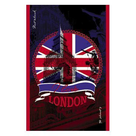 Блокнот 96л А5ф клетка на скобе выб лак LONDON26512 синийБлокнот с обложкой из картона, защищающей бумагу от деформации.