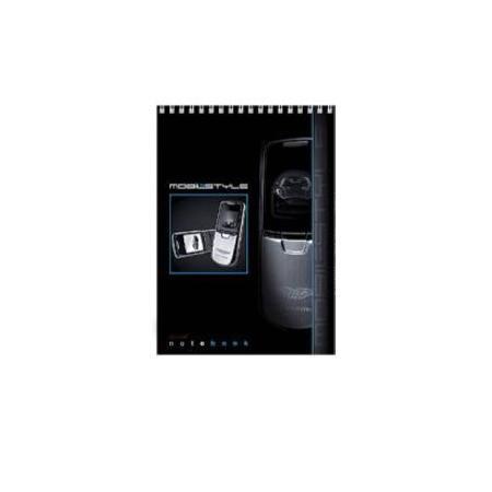 Блокнот 60л А5ф жесткая подложка клетка на спирали серия Мобильный телефон72523WDБлокнот с обложкой из картона, защищающей бумагу от деформации.
