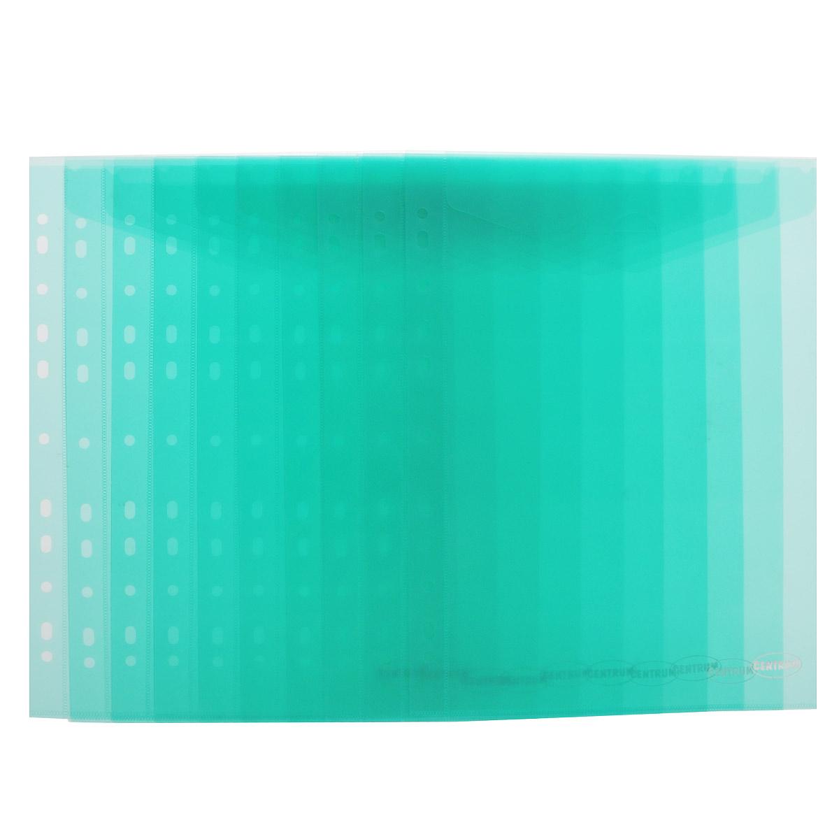 Папка-конверт Centrum, вертикальная, с перфорацией, цвет: зеленый. Формат А4, 10 штFS-36054Папка-конверт Centrum, вертикальная, с перфорацией - это удобный и функциональный офисный инструмент, предназначенный для хранения и транспортировки рабочих бумаг и документов формата А4.Папка изготовлена из полупрозрачного глянцевого пластика, имеет перфорацию. Закрывается с помощью обычного клапана. В комплект входят 10 папок формата A4.Папка-конверт - это незаменимый атрибут для студента, школьника, офисного работника. Такая папка надежно сохранит ваши документы и сбережет их от повреждений, пыли и влаги.