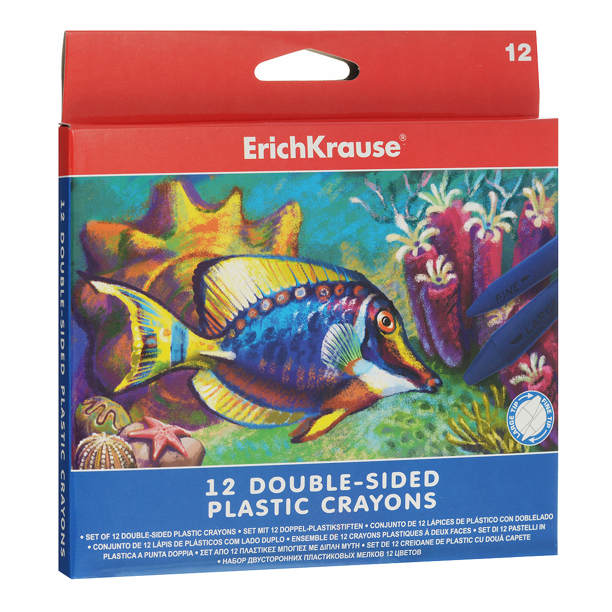 Двусторонние мелки Erich Krause, 12 цветовFS-00103Двусторонние мелки Erich Krause помогут вашему маленькому художнику раскрыть свой талант. В набор входят 12 цветных мелков (желтый, оранжевый, розовый, красный, коричневый, салатовый, зеленый, голубой, синий, светло-фиолетовый, фиолетовый, черный).Мелками очень удобно пользоваться: с одной стороны имеется широкий наконечник для быстрого раскрашивания, а с другой - узкий наконечник для тонких линий. Их не нужно точить, кроме того, они водоустойчивы. Мелки помогут малышу развить мелкую моторику рук, координацию движений, цветовое восприятие, воображение и творческое мышление.