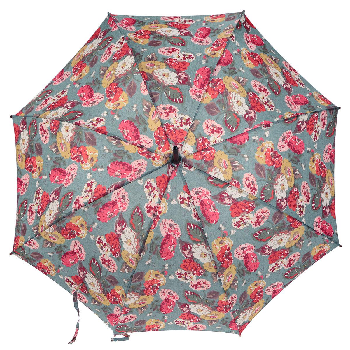 Зонт-трость женский Fulton Cath Kidston Kensington-2. Autumn Bloom Teal, механический, цвет: мультицвет. L541-284745100032/35449/3537AМодный механический зонт-трость Cath Kidston Kensington-2. Autumn Bloom Teal даже в ненастную погоду позволит вам оставаться стильной и элегантной. Каркас зонта состоит из 8 спиц фибергласса и деревянного стержня. Купол зонта выполнен из прочного полиэстера и оформлен узором в виде цветов. Изделие оснащено удобной рукояткой из дерева.Зонт механического сложения: купол открывается и закрывается вручную до характерного щелчка.Модель закрывается при помощи одного ремня с липучкой и маленького хлястика с кнопкой.Такой зонт не только надежно защитит вас от дождя, но и станет стильным аксессуаром, который идеально подчеркнет ваш неповторимый образ.