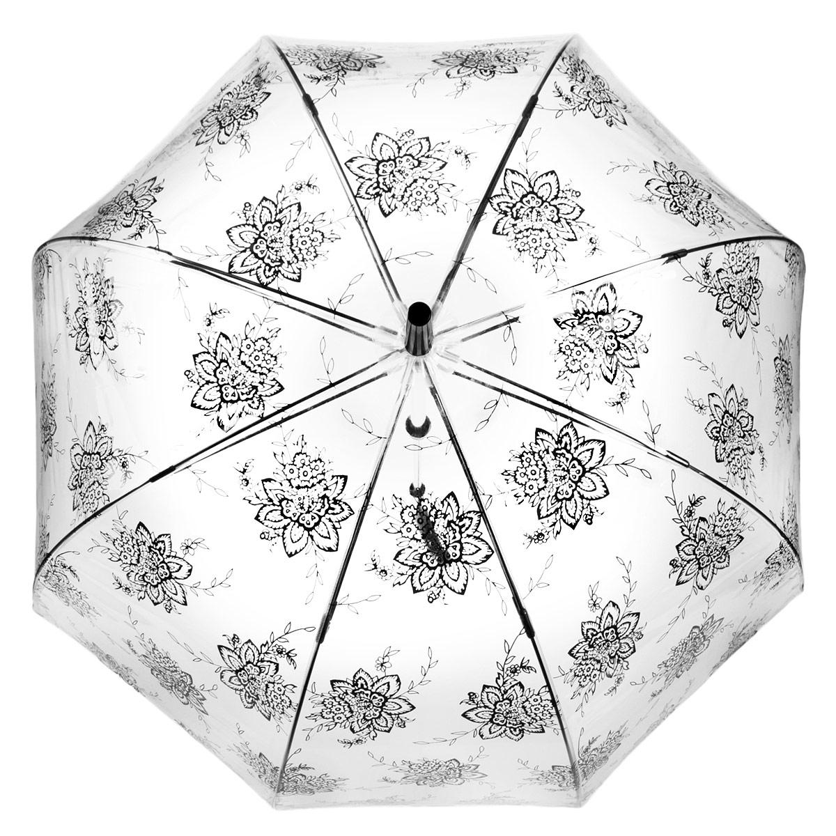Зонт-трость женский Fulton Birdcage-2. Flora, механический, цвет: прозрачный, черный. L042-283845100032/35449/3537AМодный механический зонт-трость Birdcage-2. Birdcage. Flora. Каркас зонта состоит из 8 спиц фибергласса и пластикового стержня. Купол зонта выполнен из прочного ПВХ и оформлен цветочным узором. Изделие оснащено удобной рукояткой из пластика.Зонт механического сложения: купол открывается и закрывается вручную до характерного щелчка.Модель закрывается при помощи одного ремня с кнопкой. Зонт-трость даже в ненастную погоду позволит вам оставаться стильной и элегантной. Такой зонт не только надежно защитит вас от дождя, но и станет стильным аксессуаром, который идеально подчеркнет ваш неповторимый образ.