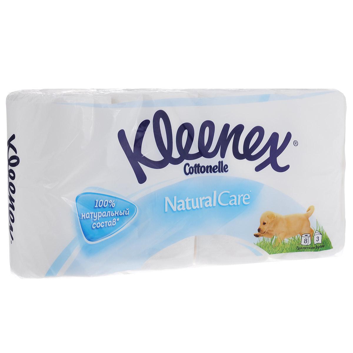 Туалетная бумага Kleenex Natural Care, трехслойная, цвет: белый, 8 рулонов010-01199-23Трехслойная туалетная бумага Kleenex Natural Care изготовлена из целлюлозы высшего качества. Мягкая, нежная, но в тоже время прочная, бумага не расслаивается и отрывается строго по линии перфорации. Оформлена тиснением.Туалетная бумага Kleenex Natural Care идеально подходит для ежедневного использования. Без ароматизаторов. Количество листов в рулоне: 155 шт. Количество слоев: 3. Размер листа: 9,6 см х 11,2 см. Состав: 100% целлюлоза.