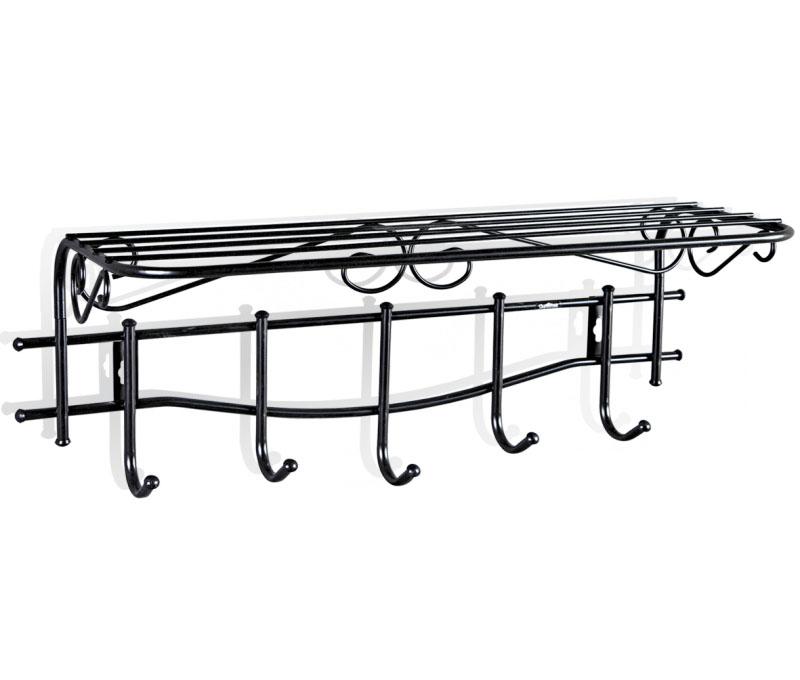 Вешалка настенная Sheffilton Грация 1/5, с полкой, цвет: черный, 68 см х 26 см х 25 смS03301004Настенная вешалка Sheffilton Грация 1/5, изготовлена из металла с порошковой окраской, стойкой к механическим повреждениям. Такая вешалка - это стильное решение для дома и офиса в экономии пространства. Выразительный внешний вид, выполненный в стиле старинных, ремесленных изделий, впишется в любой современный интерьер. Вешалка имеет 5 крючков, на которые вы сможете повесить одежду, сумку или шарфы. Удобная, большая полка пригодится для хранения летних бейсболок или зимних шапок, перчаток. Максимальная нагрузка на крючок: 5 кг.