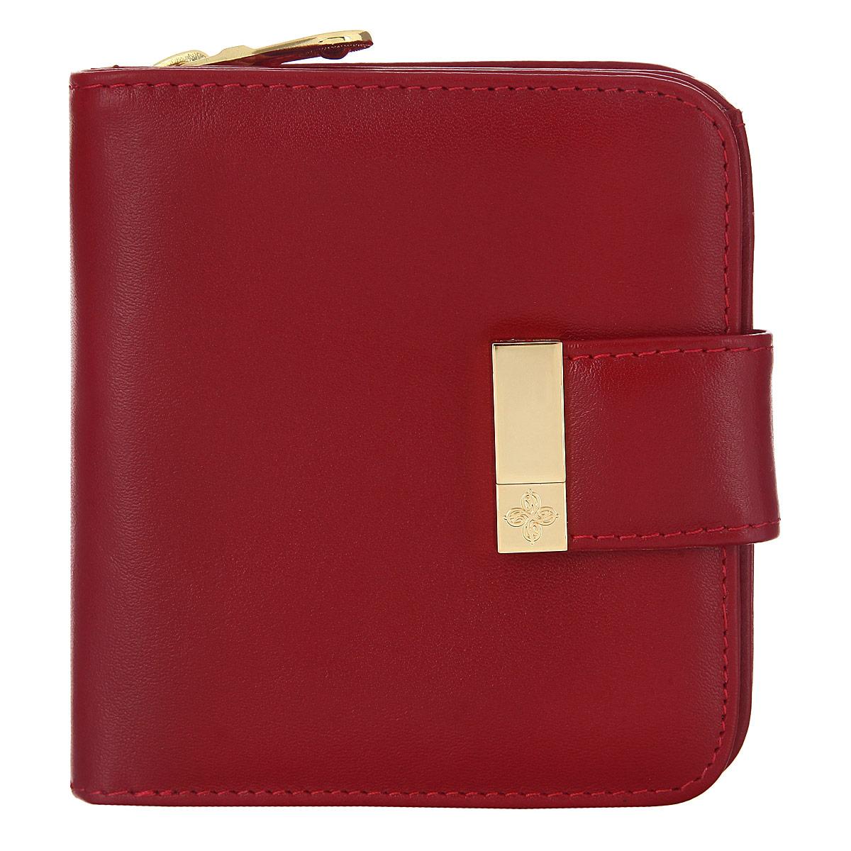 Кошелек Dimanche, цвет красный. 0481-022_516Стильный кошелек Dimanche выполнен из натуральной кожи, оформлен металлическим элементом с логотипом бренда.Изделие содержит дваотделения. Первое отделение для монет закрывается на молнию. Второе отделение раскладывается, дополнительно закрывается на клапан с магнитной кнопкой. Отделение включает в себя: шесть кармашков для визиток или пластиковых карт, два потайных кармана для документов, два отделения для купюр. Кошелек упакован в подарочную коробку с логотипом фирмы.Такой кошелек станет замечательным подарком человеку, ценящему качественные и практичные вещи.