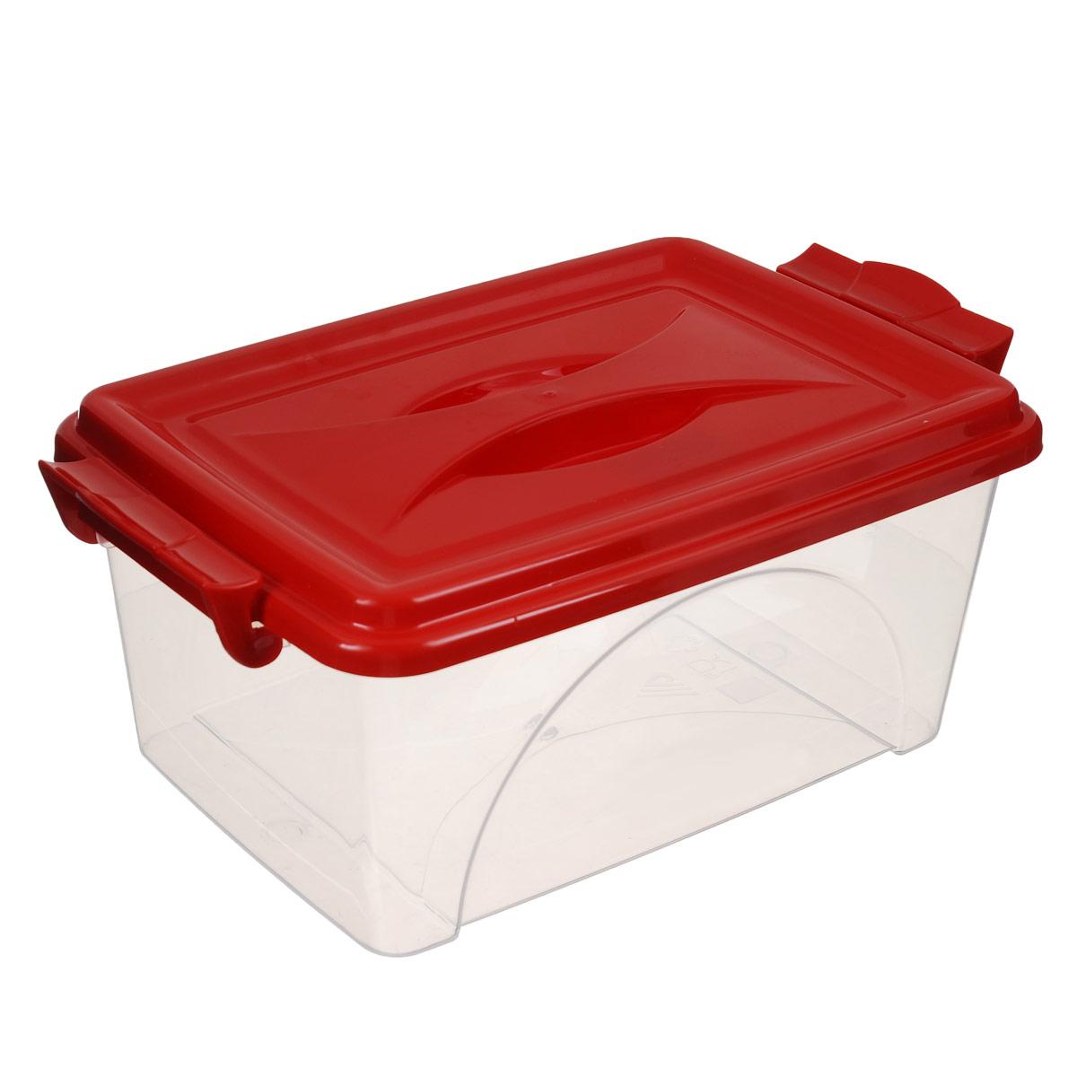 Контейнер Альтернатива, цвет: красный, 30,5 х 20 х 13,5 смМ419_красныйКонтейнер Альтернатива выполнен из прочного пластика. Он предназначен для хранения различных мелких вещей. Крышка легко открывается и плотно закрывается. Прозрачные стенки позволяют видеть содержимое. По бокам предусмотрены две удобные ручки, с помощью которых контейнер закрывается.Контейнер поможет хранить все в одном месте, а также защитить вещи от пыли, грязи и влаги.
