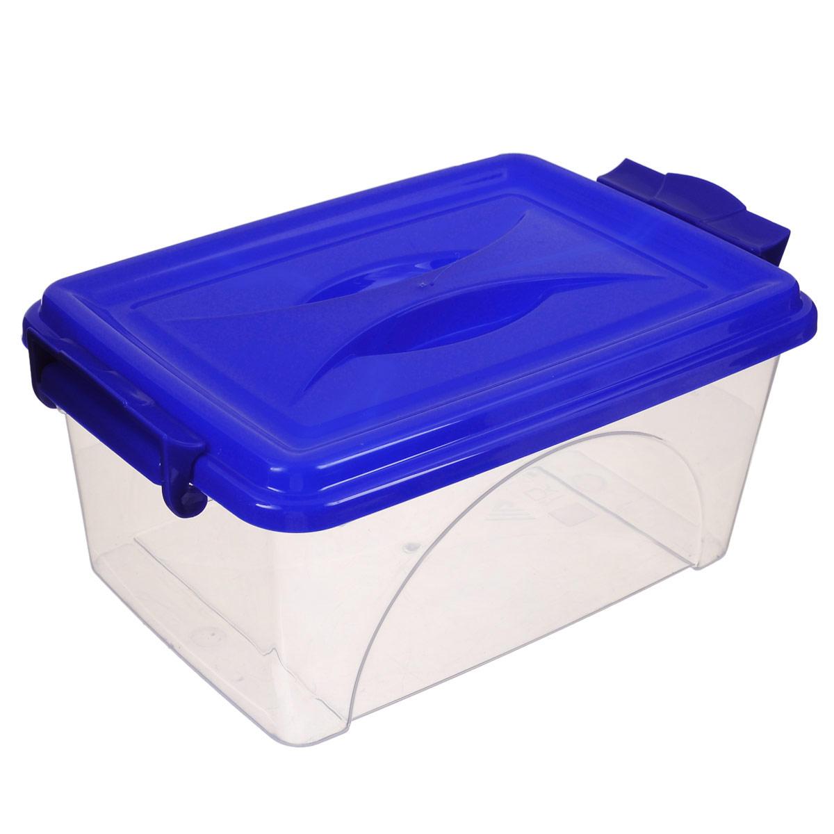 Контейнер Альтернатива, цвет: синий, 30,5 х 20 х 13,5 смRG-D31SКонтейнер Альтернатива выполнен из прочного пластика. Он предназначен для хранения различных мелких вещей. Крышка легко открывается и плотно закрывается. Прозрачные стенки позволяют видеть содержимое. По бокам предусмотрены две удобные ручки, с помощью которых контейнер закрывается.Контейнер поможет хранить все в одном месте, а также защитить вещи от пыли, грязи и влаги.