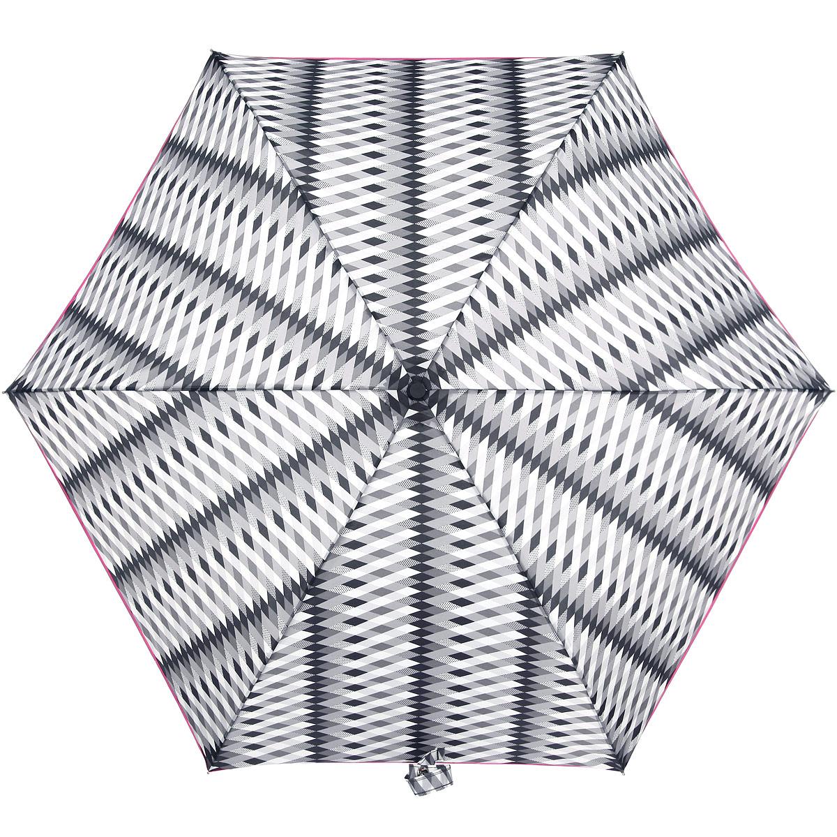 Зонт женский Fulton Lulu Guinness Superslim. Monochrome Milan, механический, 3 сложения, цвет: белый, розовый, серый, черный. L718-295845100738/18076/4D00NОчаровательный механический зонтик Lulu Guinness Superslim. Monochrome Milan в 3 сложения изготовлен из высокопрочных материалов. Каркас зонта состоит из 6 спиц и прочного алюминиевого стержня. Купол зонта выполнен из прочного полиэстера с водоотталкивающей пропиткой и оформлен принтом в виде ромбиков. Рукоятка изготовлена из пластика.Зонт имеет механический механизм сложения: купол открывается и закрывается вручную до характерного щелчка.Модель закрывается при помощи хлястика на кнопку. К зонту прилагается чехол на липучке.Прелестный зонт не только выручит вас в ненастную погоду, но и станет стильным аксессуаром, прекрасно дополнит ваш модный образ.