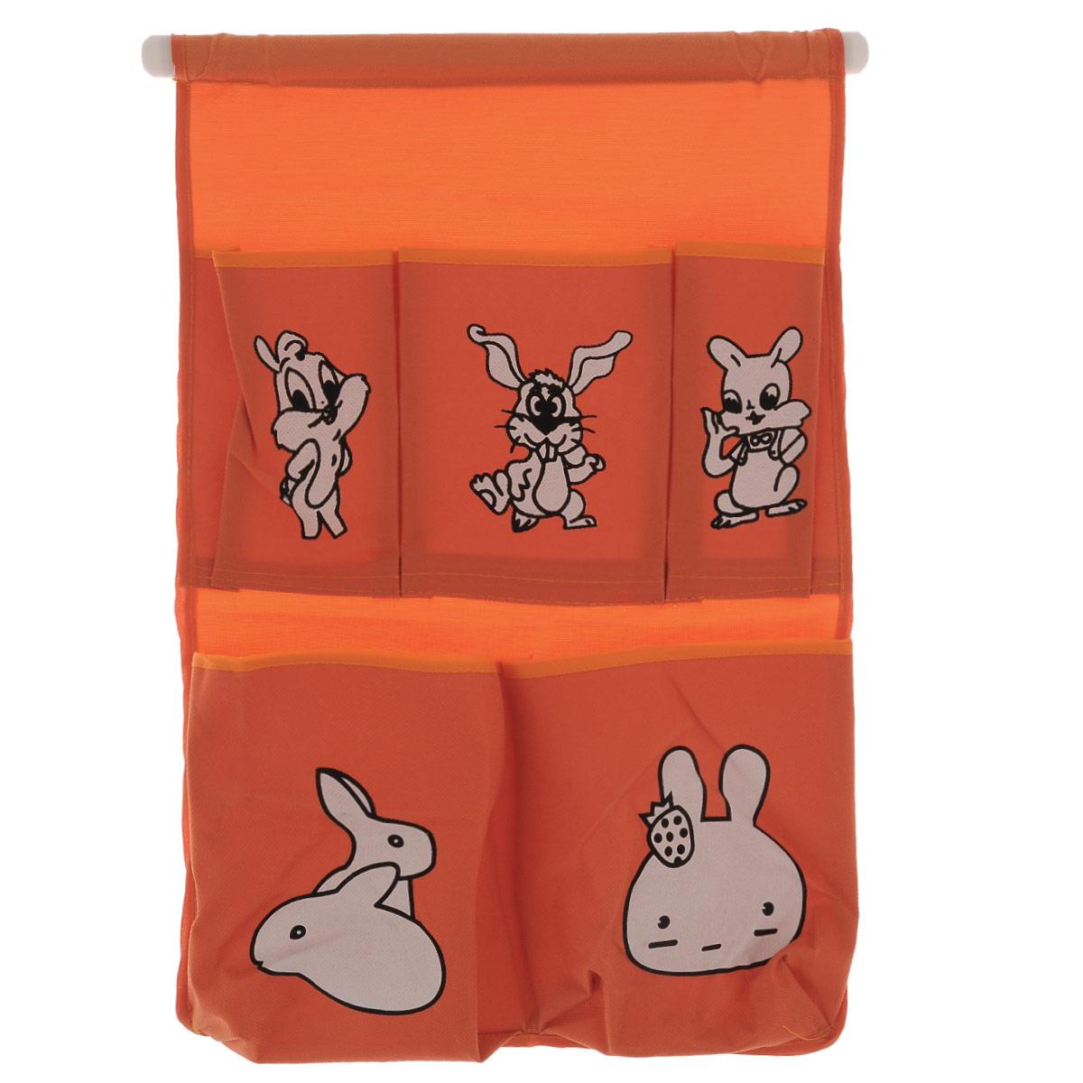 Органайзер для хранения Sima-land Зайчата, цвет: оранжевый, 5 отделенийES-412Органайзер Sima-land, изготовленный из текстиля, предназначен для хранения необходимых вещей, множества мелочей в гардеробной, ванной, детской комнатах. Изделие оснащено 5 кармашками, пришитыми к текстильному полотну. Этот нужный предмет может стать одновременно и декоративным элементом комнаты. Размер самого большого отделения (ДхШ): 14,5 см х 16 см. Размер самого маленького отделения (ДхШ): 13,5 см х 7,5 см.