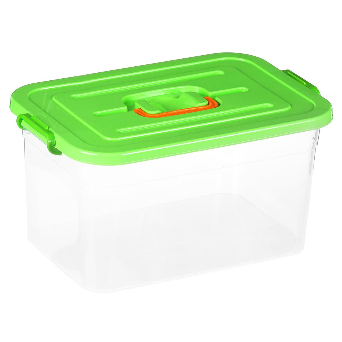 Контейнер для хранения Полимербыт, цвет: зеленый, 15 л12723Контейнер для хранения Полимербыт выполнен из высококачественного цветного пластика. Контейнер снабжен удобной ручкой и двумя пластиковыми фиксаторами по бокам, придающими дополнительную надежность закрывания крышки. Вместительный контейнер позволит сохранить различные нужные вещи в порядке, а герметичная крышка предотвратит случайное открывание, защитит содержимое от пыли и грязи. Объем: 15 л.