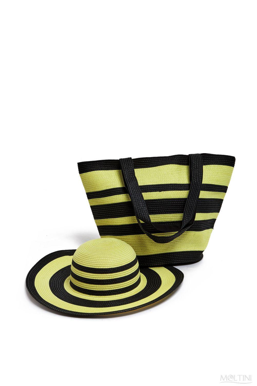 Комплект Moltini: сумка, шляпа, цвет: желтый, черный. 15J018S76245Оригинальный пляжный комплект Moltini, состоящий из сумки и шляпы, выполнен из плотного текстиля. Комплект выполнен в едином стиле и оформлен контрастными цветами.Сумка состоит из одного вместительного отделения и закрывается на магнитную кнопку. Внутри размещены два накладных кармана для телефона и мелочей и один вшитый карман на молнии. Оригинальная форма ручек и натуральные материалы делают эту сумку особенно удобной и практичной.Шляпа надежно защитит волосы и лицо от ярких солнечных лучей. Шляпа выполнена в едином стиле с сумкой и достойно завершит комплект.Комплект Moltini идеально подойдет для похода на пляж или загородной поездки.