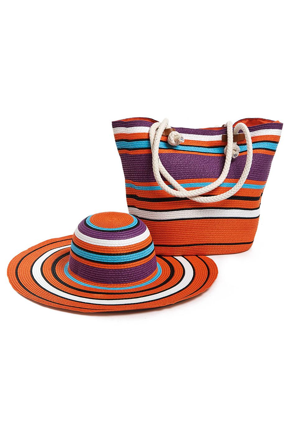 Комплект Moltini: сумка, шляпа, цвет: оранжевый, фиолетовый. 15V0173-47670-00504Оригинальный пляжный комплект Moltini, состоящий из сумки и шляпы, выполнен из плотного текстиля. Комплект выполнен в едином стиле и оформлен контрастными оттенками.Сумка состоит из одного вместительного отделения и закрывается на магнитную кнопку. Внутри размещены два накладных кармана для телефона и мелочей и один вшитый карман на молнии. Оригинальная форма ручек и натуральные материалы делают эту сумку особенно удобной для ношения на плече.Шляпа с широкими полями надежно защитит волосы и лицо от ярких солнечных лучей. Шляпа выполнена в едином стиле с сумкой и достойно завершит комплект.Комплект Moltini идеально подойдет для похода на пляж, для загородной поездки.