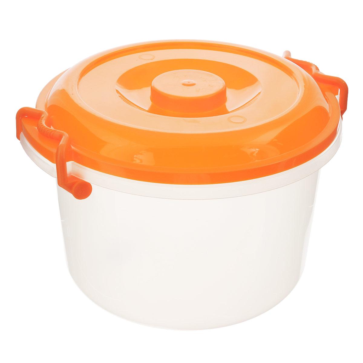 Контейнер Альтернатива, цвет: оранжевый, 7 лМ147Контейнер Альтернатива выполнен из прочного пластика, предназначен для хранения различных мелких вещей.Прозрачные стенки позволяют видеть содержимое. Контейнер плотно закрывается крышкой с двумя защелками. В таком контейнере ваши вещи будут защищены от пыли, грязи и влаги.Объем: 7 л.Внутренний диаметр контейнера: 25 см.Ширина контейнера с учетом ручек: 30 см.Высота контейнера: 19,5 см.