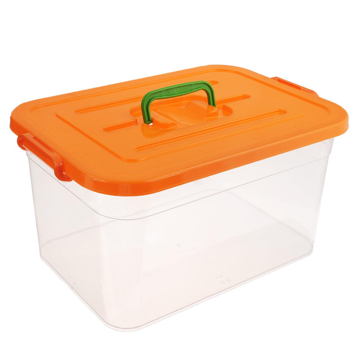 Контейнер для хранения Полимербыт, цвет: оранжевый, 15 лU210DFКонтейнер для хранения Полимербыт выполнен из высококачественного пищевого пластика. Контейнер снабжен удобной ручкой и двумя пластиковыми фиксаторами по бокам, придающими дополнительную надежность закрывания крышки. Вместительный контейнер позволит сохранить различные нужные вещи в порядке, а герметичная крышка предотвратит случайное открывание, защитит содержимое от пыли и грязи. Объем: 15 л.