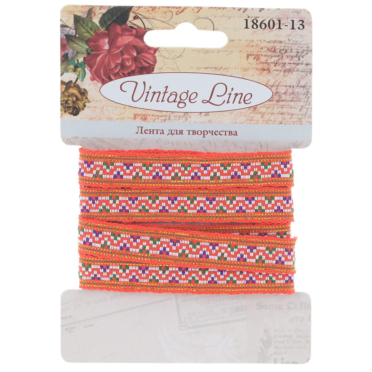 Лента декоративная Vintage Line, цвет: красный, 1,2 х 100 см55052Декоративная лента Vintage Line выполнена из текстиля и оформлена оригинальным узором. Такая лента идеально подойдет для оформления различных творческих работ таких, как скрапбукинг, аппликация, декор коробок и открыток и многое другое.Лента наивысшего качества практична в использовании. Она станет незаменимым элементом в создании рукотворного шедевра. Ширина: 1,2 см.Длина: 1 м.