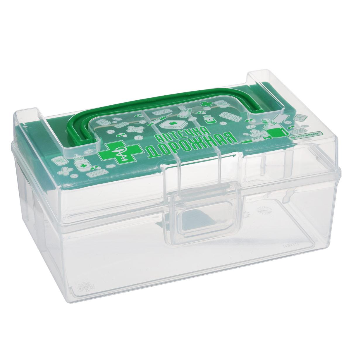 Контейнер для аптечки Полимербыт Аптечка дорожная, с вкладышем, цвет: зеленый, 800 мл19199Контейнер Полимербыт Аптечка дорожная выполнен из прозрачного пластика. Для удобства переноски сверху имеется ручка. Внутрь вставляется цветной вкладыш с одним отделением. Контейнер плотно закрывается крышкой с защелками. Контейнер для аптечки Полимербыт Аптечка дорожная очень вместителен и поможет вам хранить все лекарства в одном месте.Размер вкладыша: 16 см х 4 см х 2 см.