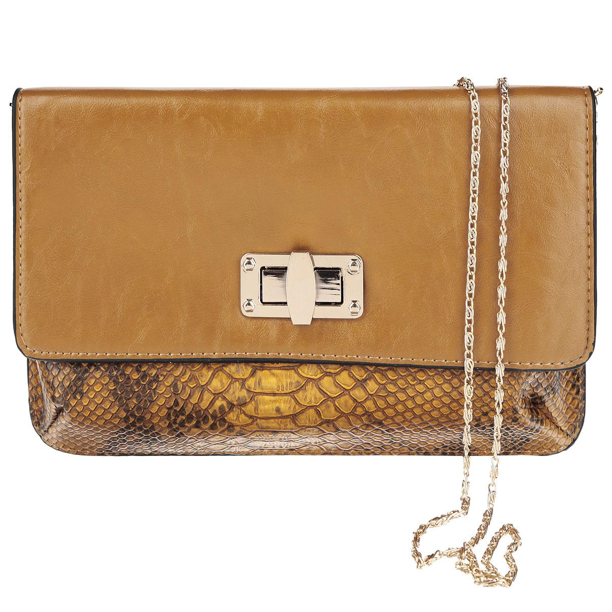 Сумка-клатч театральная Selena, цвет: желто-коричневый. 90055731101225Элегантная женская сумка-клатч Selena выполнена из искусственной кожи и оформлена тиснением под рептилию. Изделие закрывается клапаном на замок-вертушку и имеет съемный плечевой ремень-цепочку. Внутреннее отделение содержит вшитый карман на застежке-молнии. Изысканная сумка прекрасно дополнит ваш элегантный образ и подчеркнет безупречный вкус.