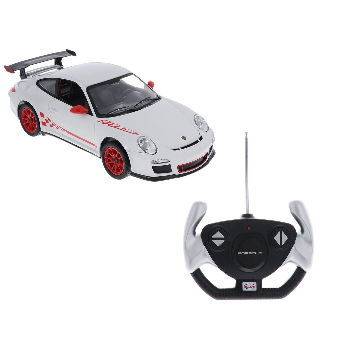 Радиоуправляемая машинка Porsche 911 GT3 RS представляет собой точную копию автомобиля известной марки, выполненную в масштабе 1:14 от оригинала. Радиоуправляемая машинка Porsche 911 GT3 RS обладает неповторимым стилем и спортивным характером. Машинка Porsche 911 GT3 RS сделана из качественного пластика с проработкой всех внутренних и внешних деталей. Автомобилем легко управлять с помощью удобного пульта. Машинка очень маневренная и двигается со скоростью до 12км/ч на расстоянии до 40 метров от пульта управления. Машинка Porsche 911 GT3 RS может двигаться вперед, назад, вправо и влево. При движении вперед - горят передние фары, при движении назад - горят задние стоп-сигналы. В комплект входит инструкция по эксплуатации автомобиля на русском языке.