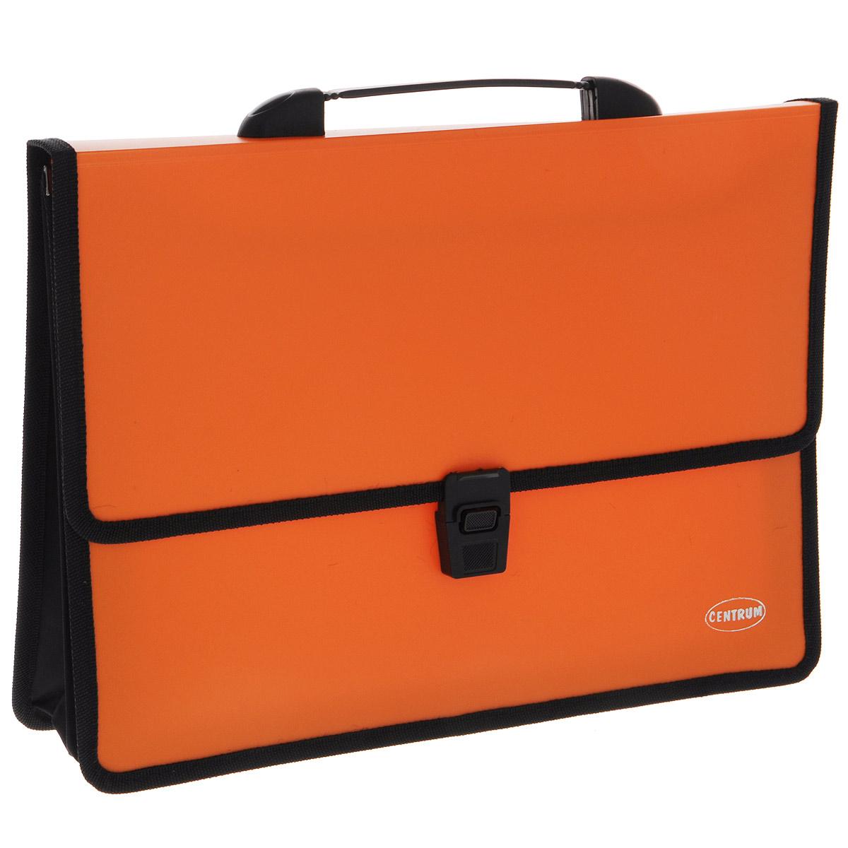 Папка-портфель Centrum, с ручкой, цвет: оранжевыйDB20AB-03Папка-портфель Centrum станет вашим верным помощником дома и в офисе. Это удобный и функциональный инструмент, предназначенный для хранения и транспортировки больших объемов рабочих бумаг и документов формата А4.Папка изготовлена из износостойкого высококачественного пластика толщиной 0,70 мм, и закрывается на широкий клапан с замком. Состоит из 2 вместительных отделений. Грани папки отделаны полиэстером, а уголки закруглены для обеспечения дополнительной прочности и сохранности опрятного вида папки. Папка имеет удобную ручку для переноски.Папка - это незаменимый атрибут для любого студента, школьника или офисного работника. Такая папка надежно сохранит ваши бумаги и сбережет их от повреждений, пыли и влаги.