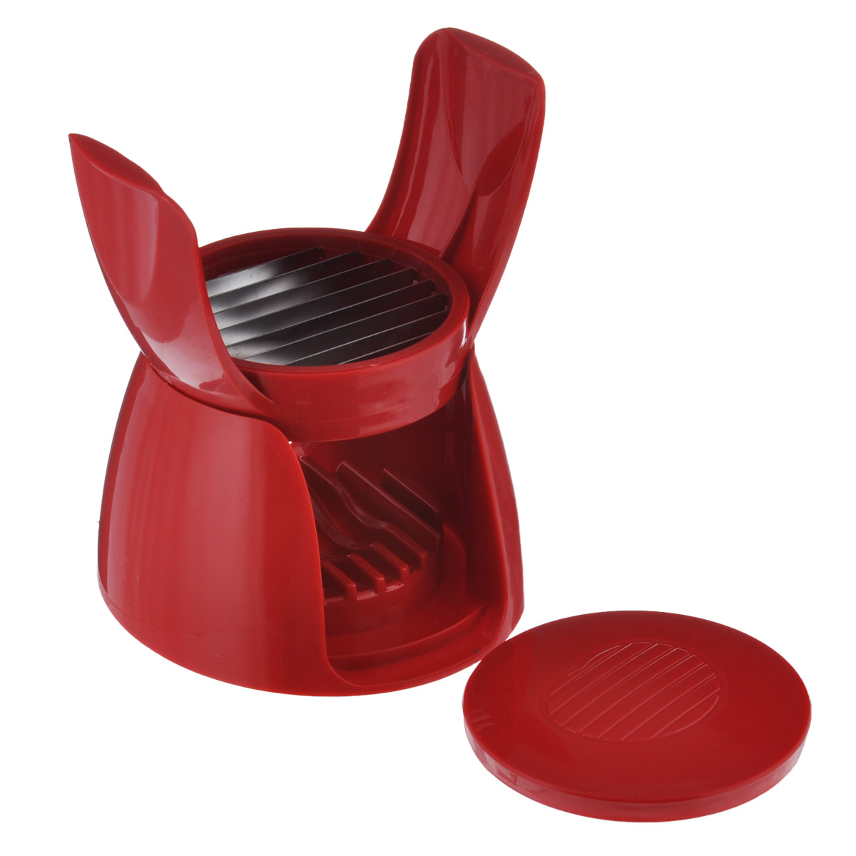 Овощерезка для томатов Bradex Сеньор Помидор, цвет: красный68/5/3Овощерезка для томатов Bradex Сеньор Помидор выполнена из прочного пищевого пластика с лезвиями из нержавеющей стали. Если вам нужно порезать идеально ровными кольцами помидоры для салата, сэндвичей или закусок, то овощерезка для томатов поможет вам сделать это быстро и не пачкая пальцы. Также ее можно использовать для мягких сортов сыра, вареных овощей, фруктов. Кольца нарезанных продуктов будут идеально одинаковой толщины. С этой овощерезкой вы гораздо быстрее справитесь с приготовлением вкусных и любимых блюд не только в праздники, но и в будни. Все вышеперечисленные продукты вы сможете порезать идеальными ровными кольцами всего лишь одним нажатием. Размер овощерезки в сложенном виде: 12,5 см х 12,5 см х 9 см.