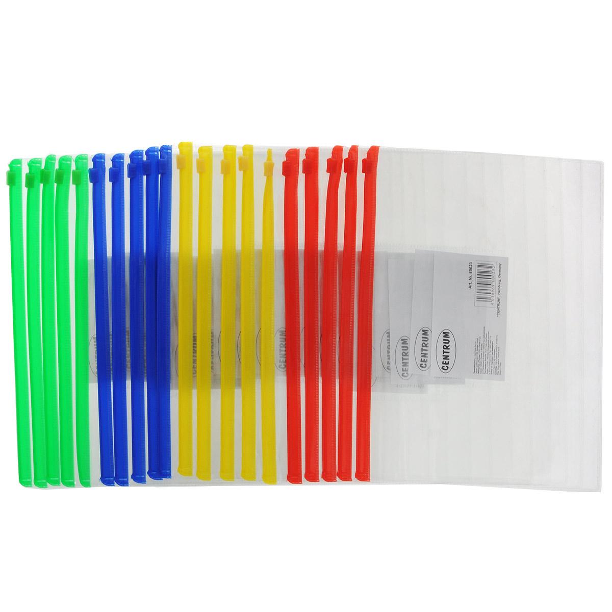 Папка-конверт на молнии Centrum, прозрачная, цвет: зеленый, красный, желтый, синий, формат А5, 20 штCF903P-03Папка-конверт на молнии Centrum - это удобный и функциональный офисный инструмент, предназначенный для хранения и транспортировки рабочих бумаг и документов формата А5.Она изготовлена из прозрачного глянцевого пластика, имеет практичную застежку-молнию и имеет прозрачный боковой карман. В комплект входят 20 папок формата A5. Папка-конверт - это незаменимый атрибут для студента, школьника, офисного работника. Такая папка надежно сохранит ваши документы и сбережет их от повреждений, пыли и влаги.