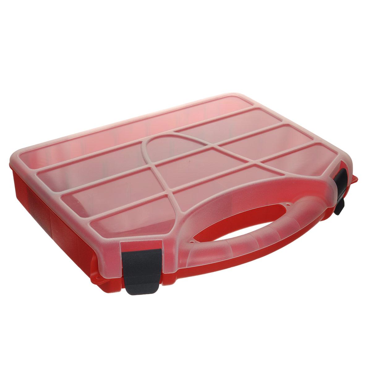Органайзер Blocker Profi, со съемными перегородками, цвет: красный, 46 см х 35,5 см х 7 см98298130Органайзер Blocker Profi изготовлен из высококачественного прочного пластика и предназначен для хранения и переноски инструментов, рыболовных принадлежностей и различных мелочей. Оснащен 5 большими отделениями, в три из которых можно вставить перегородки. Органайзер надежно закрывается при помощи пластмассовых защелок. Крышка выполнена из прозрачного пластика, что позволяет видеть содержимое.Размер самого большого отделения: 42,5 см х 7 см х 6 см.Размер самого маленького отделения: 6 см х 7 см х 6 см.