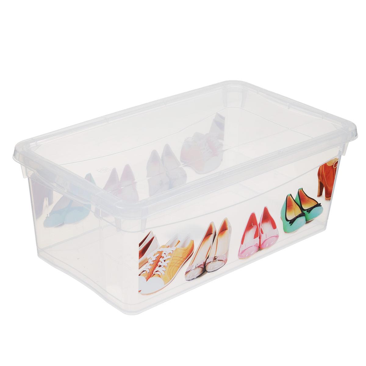 Ящик для обуви Econova Обувь, 33 см х 19 см х 12 см25051 7_зеленыйЯщик Econova Обувь выполнен из высококачественного прозрачного полипропилена и предназначен для хранения обуви. Ящик декорирован ярким рисунком и оснащен удобной крышкой.Очень функциональный и вместительный, такой ящик будет очень полезен для хранения вещей, а также защитит их от пыли и грязи.