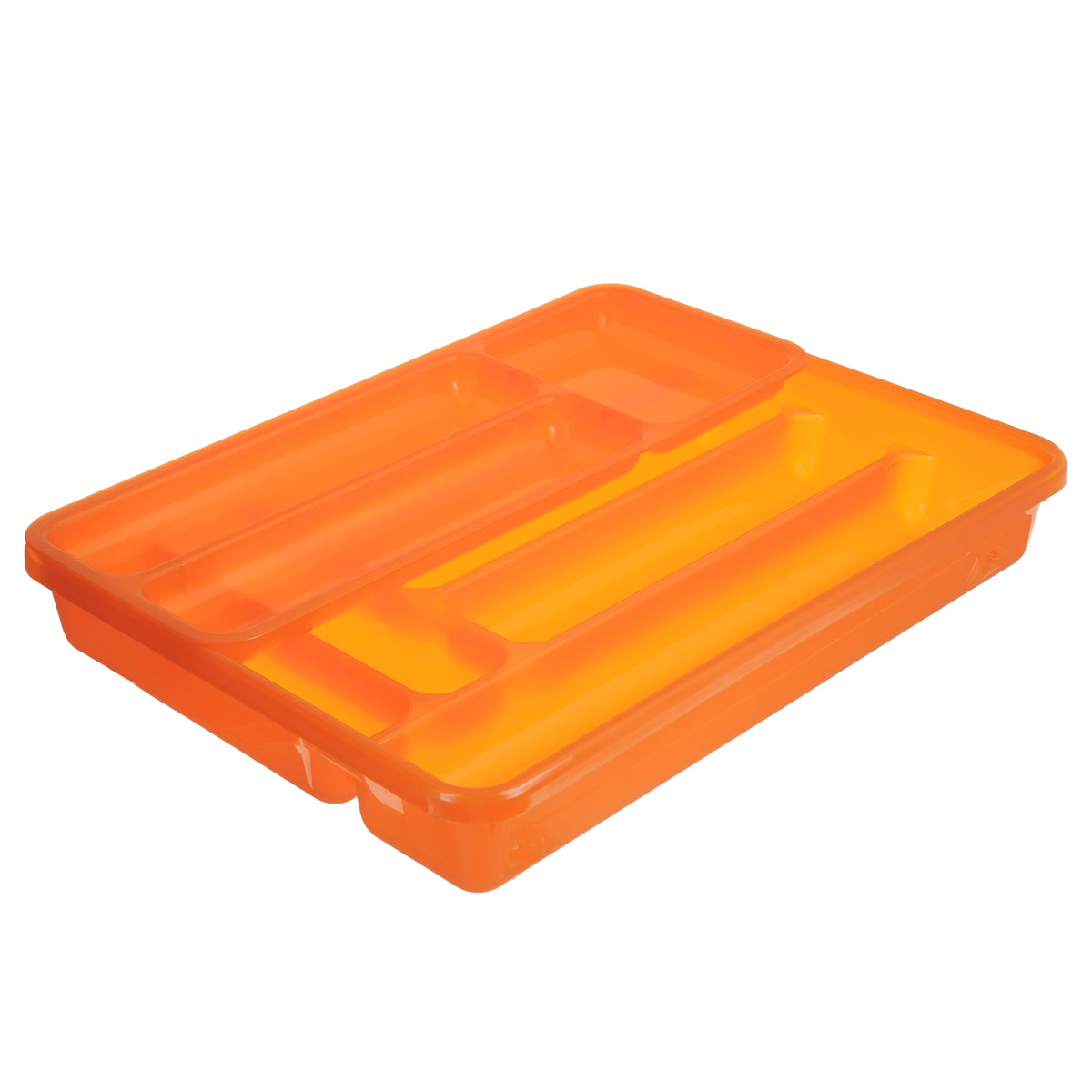 Лоток для столовых приборов Cosmoplast, двойной, цвет: оранжевый, 40 см х 30 смVT-1520(SR)Лоток для столовых приборов Cosmoplast изготовлен из пластика. Изделие имеет 3 одинаковых секции для столовых ложек, вилок и ножей, 2 секции для чайных ложек и других мелких столовых приборов и длинную секцию для различных кухонных принадлежностей. Лоток оснащен съемным отделением с 3 дополнительными секциями. Помещается в любой кухонный ящик.