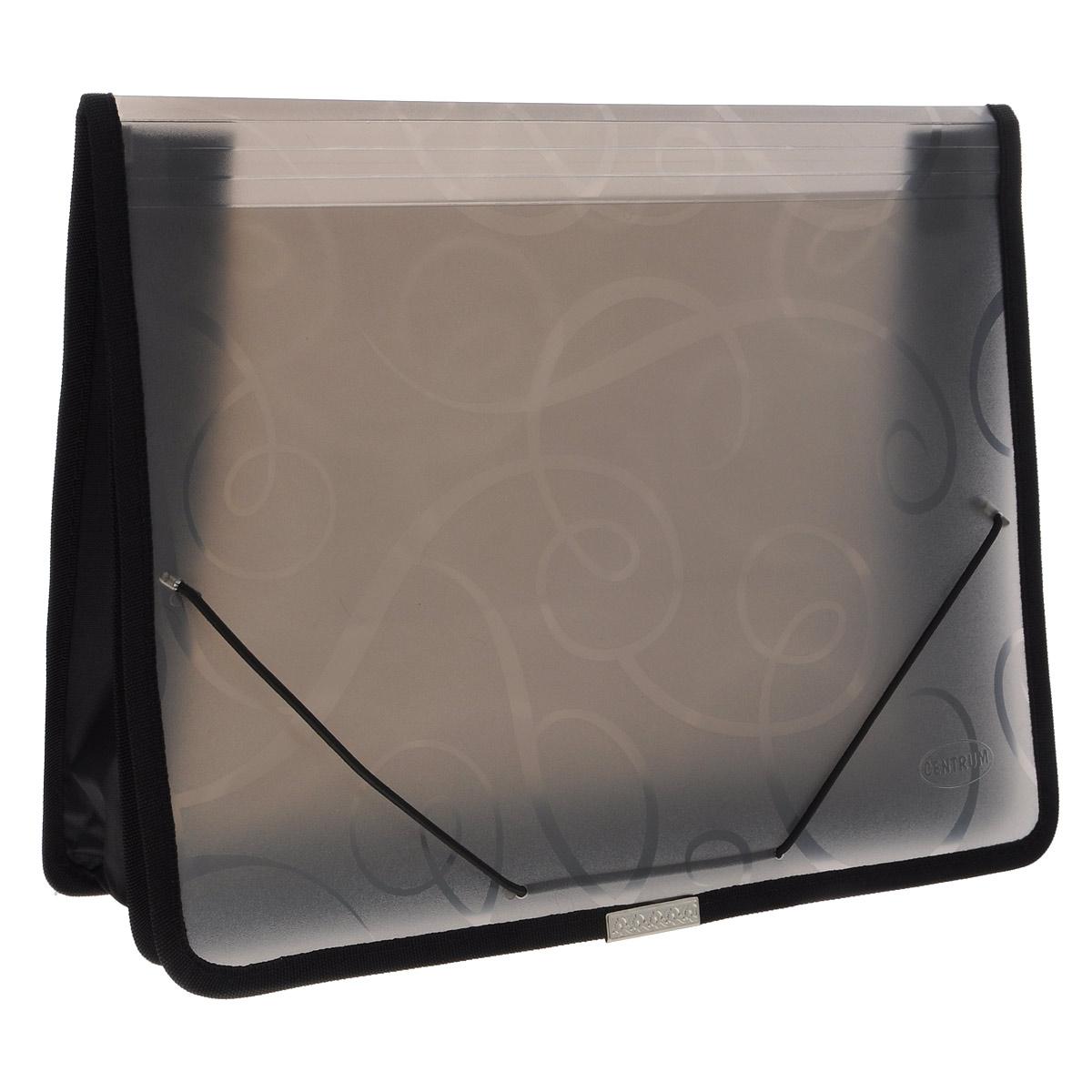 Папка на резинке Centrum, 2 отделения, цвет: черный, формат А4SW-FZHA4-1Папка на резинке Centrum станет вашим верным помощником дома и в офисе. Это удобный и функциональный инструмент, предназначенный для хранения и транспортировки больших объемов рабочих бумаг и документов формата А4.Папка изготовлена из износостойкого высококачественного пластика. Состоит из 2х вместительных отделений и имеется 2 накладных кармашка. Грани папки отделаны полиэстером и металлическим лейблом для дополнительной прочности и сохранности опрятного вида папки.Папка - это незаменимый атрибут для любого студента, школьника или офисного работника. Такая папка надежно сохранит ваши бумаги и сбережет их от повреждений, пыли и влаги.