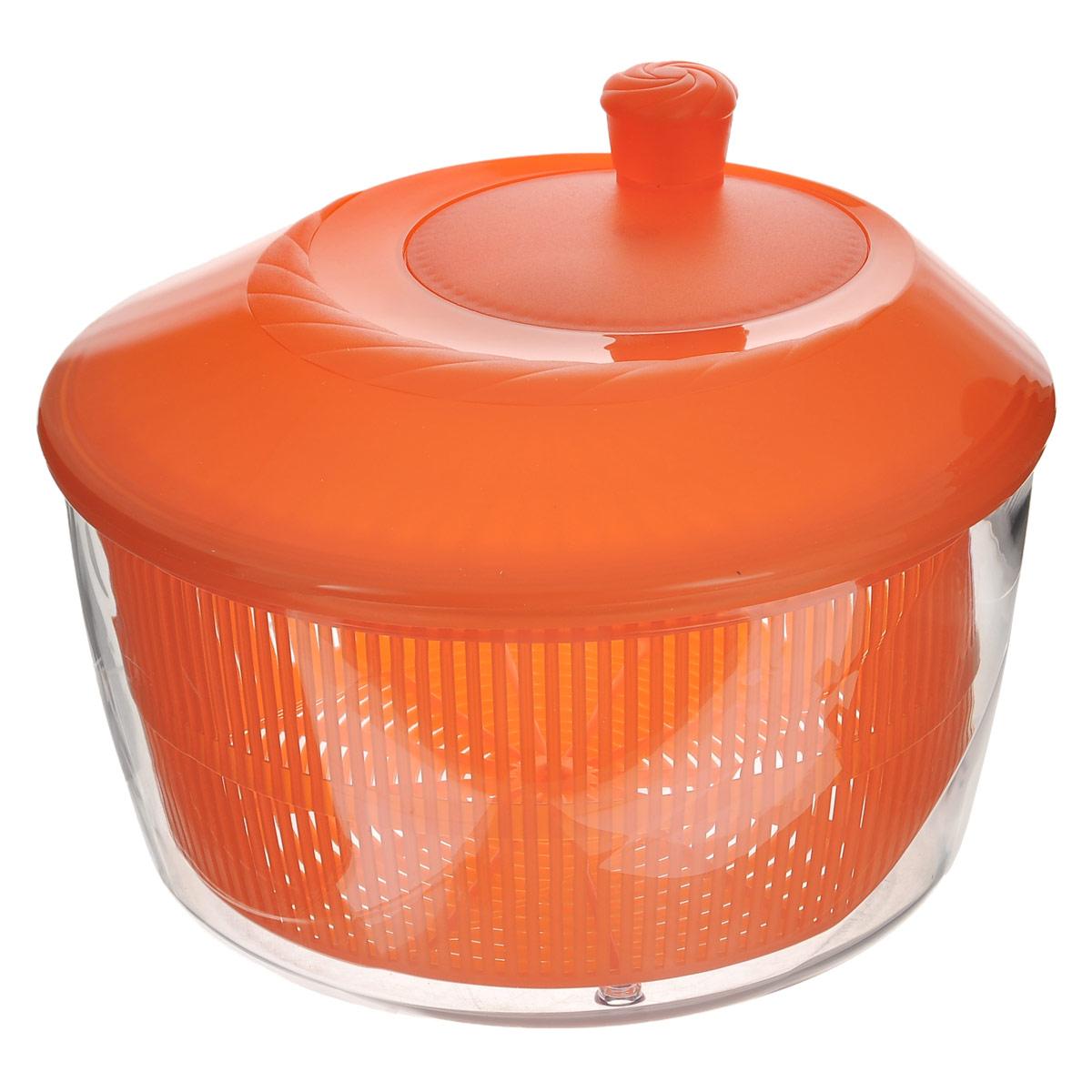 Сушилка для зелени Cosmoplast, цвет: оранжевый, 4,2 л0003Сушилка для зелени Cosmoplast, выполненная из пищевого пластика, состоит из прозрачной емкости, сита и крышки с кнопкой. С ее помощью можно просушивать зелень, салаты и многое другое. Вращением ручки на крышке приводится в действие вращательный механизм, и лишняя влага оседает внизу. Сушилка достаточно вместительная, что позволит ваш просушить сразу весь уже нарезанный салат. Сушилка легко моется и разбирается, что гарантирует максимальную гигиену. Эффект антискольжения обеспечивают удобные ножки и ручка вращения. Функциональность, прочность и универсальность сделают такую сушилку незаменимым аксессуаром для приготовления ваших любимых блюд.Объем: 4,2 л. Диаметр (по верхнему краю): 26 см. Высота (без учета крышки): 13 см. Высота (с учетом крышки): 18 см.