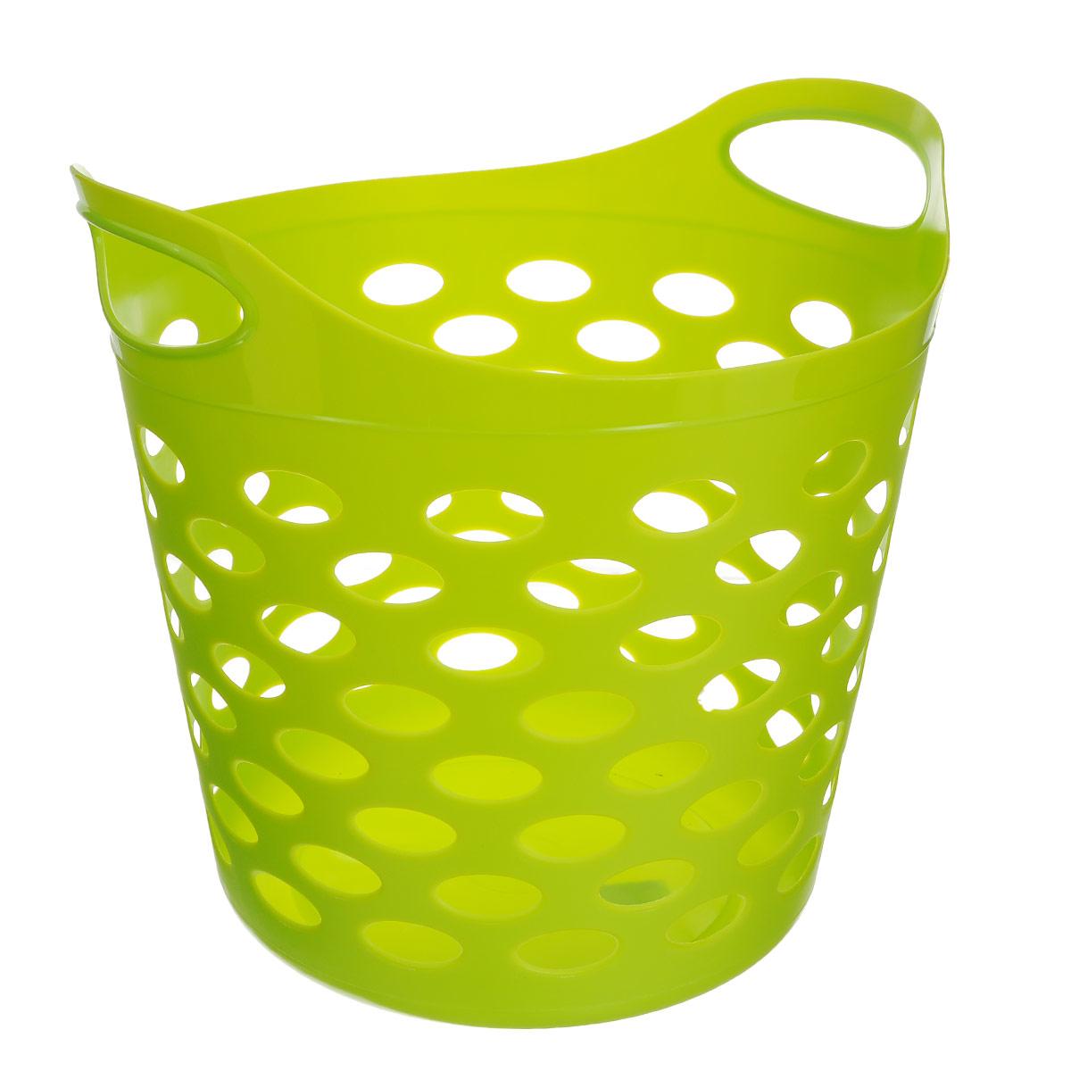 Корзина универсальная Gensini, цвет: салатовый. 3310ПЦ2829Универсальная корзина Gensini отлично подойдет для хранения белья перед стиркой, игрушек и других вещей. Она выполнена из высококачественного мягкого пластика и оснащена двумя удобными ручками для переноски. Современный дизайн корзины позволит ей вписаться в любой интерьер, а благодаря своим компактным размерам она не займет много места. Диаметр корзины (без учета ручек): 37 см. Высота корзины (без учета ручек): 31 см. Высота корзины (с учетом ручек): 38 см.