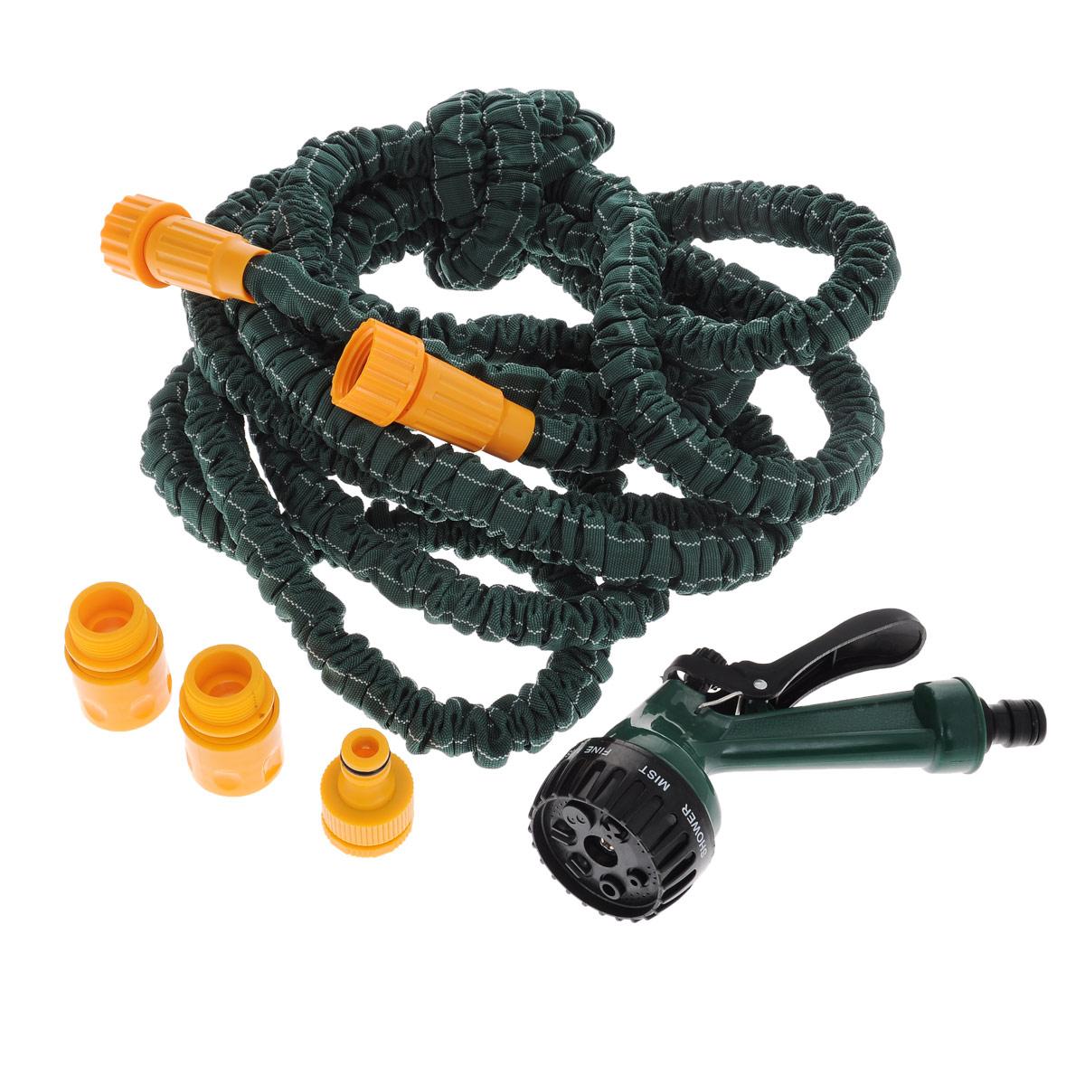 Шланг садовый Bradex Pocket Hose Ultra, с лейкой, цвет: зеленый, 5-15 м18022-20.000.00Садовый шланг Bradex Pocket Hose Ultra - это прекрасный шланг, удлиняющийся в 3 раза. Подключите шланг к крану и можете приступать к использованию. Очень легкий вес, что делает шланг еще более удобным в эксплуатации. Внутри шланг выполнен из латекса, снаружи - полиэстер. Шланг подходит как для полива рассады, цветов, газонов, так и для мытья машины.Особенности: - удобный и легкий, - растягивается в длину при поступлении воды, - автоматически возвращается в исходный размер, - подключается к стандартным кранам, - не перекручивается, не заламывается, не путается, - гибкий, - удобная сборка, - удлиняется в 3 раза.Для более удобного полива, в комплекте имеется специальная насадка-лейка.Длина шланга без воды: 5 м.Длина шланга при наполнении водой: 15 м.