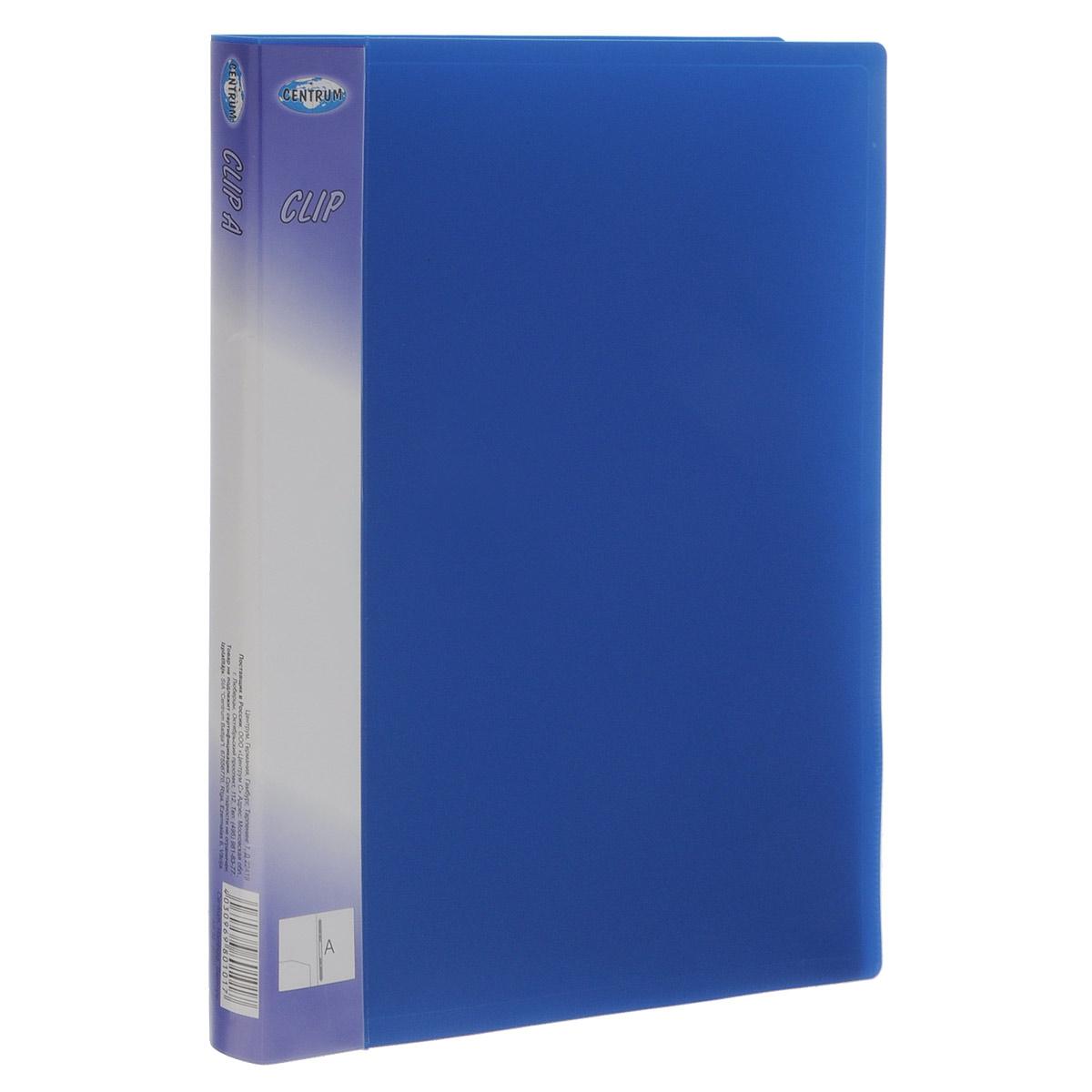 Папка-скоросшиватель Centrum Clip, цвет: синий, формат А4FS-36054Папка-скоросшиватель Centrum Clip - это удобный и практичный офисный инструмент, предназначенный для бережного хранения и транспортировки перфорированных рабочих бумаг и документов формата А4.Папка изготовлена из полупрозрачного фактурного пластика, оснащена металлическим пружинным скоросшивателем и дополнена прозрачным кармашком на корешке Папка-скоросшиватель надежно сохранит ваши документы и сбережет их от повреждений, пыли и влаги.