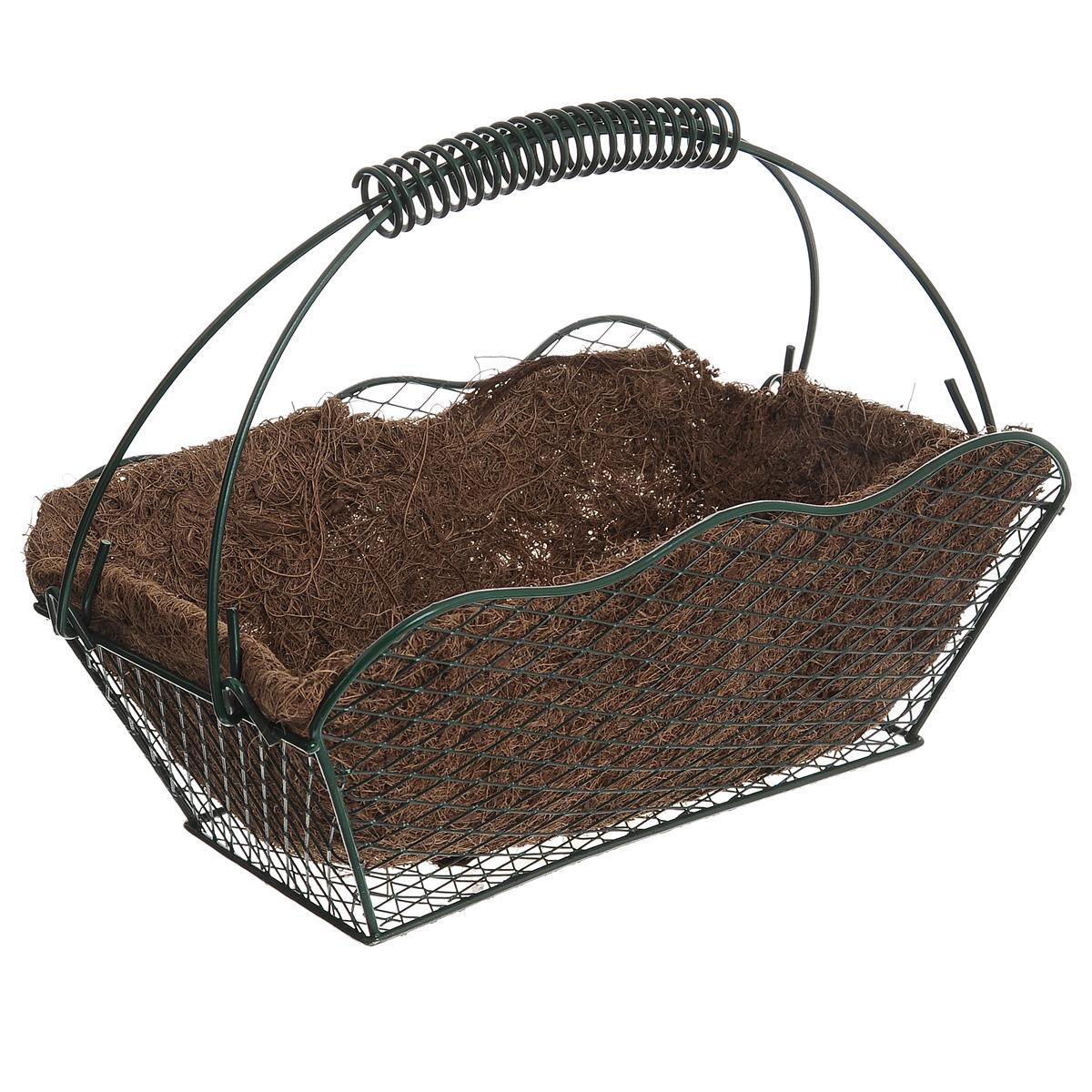 Корзина Greenell, с вкладышем, 27 х 16,5 х 20 смCLP446Корзина Greenell изготовлена из стали, оснащена вкладышем из кокосового волокна. Корзина предназначена для выращивания цветов и других декоративных растений.В ней хорошо будут расти любые цветы: кокосовое волокно является идеальным субстратом для растений.Кокосовое волокно способствует сохранению в почве питательных веществ и сохранению комфортного для растений уровня влажности.