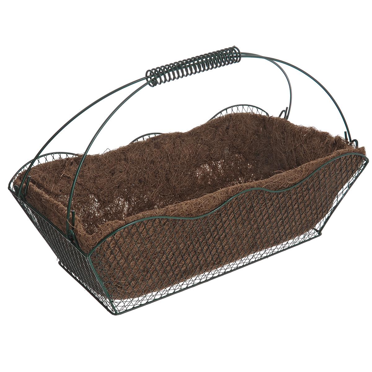Корзина Greenell, с вкладышем, 42 см х 20,5 см х 25 смWB20-40Корзина Greenell изготовлена из стали, оснащена вкладышем из кокосового волокна. Корзина предназначена для выращивания цветов и других декоративных растений.В ней хорошо будут расти любые цветы: кокосовое волокно является идеальным субстратом для растений.Кокосовое волокно способствует сохранению в почве питательных веществ и сохранению комфортного для растений уровня влажности.