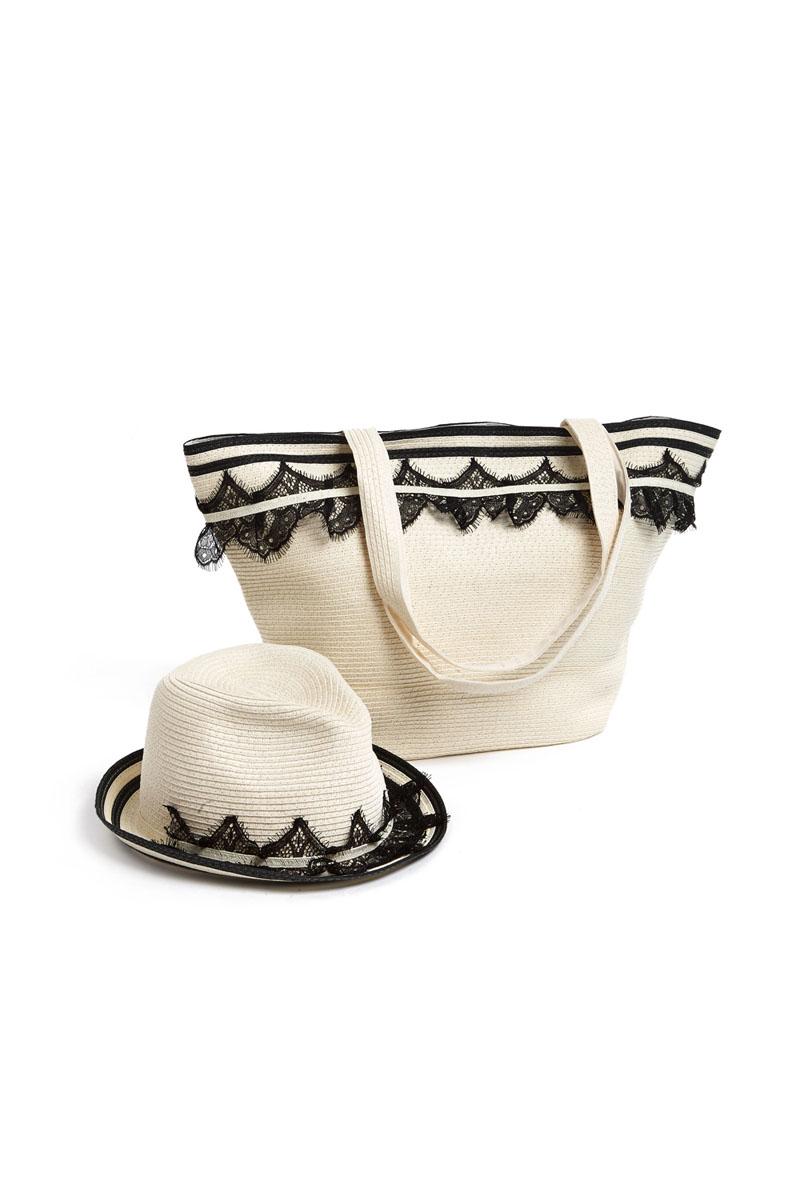 Комплект Moltini: сумка, шляпа, цвет: молочный, черный. 15A002S76245Оригинальный пляжный комплект Moltini, состоящий из сумки и шляпы, выполнен из плотного текстиля. Комплект выполнен в едином стиле и оформлен кружевом.Сумка состоит из одного вместительного отделения и закрывается на магнитную кнопку. Внутри размещены два накладных кармана для телефона и мелочей и один вшитый карман на молнии. Оригинальная форма ручек и натуральные материалы делают эту сумку особенно удобной для ношения на плече.Шляпа надежно защитит волосы и лицо от ярких солнечных лучей. Шляпа выполнена в едином стиле с сумкой и достойно завершит комплект.Комплект Moltini идеально подойдет для похода на пляж, для загородной поездки.