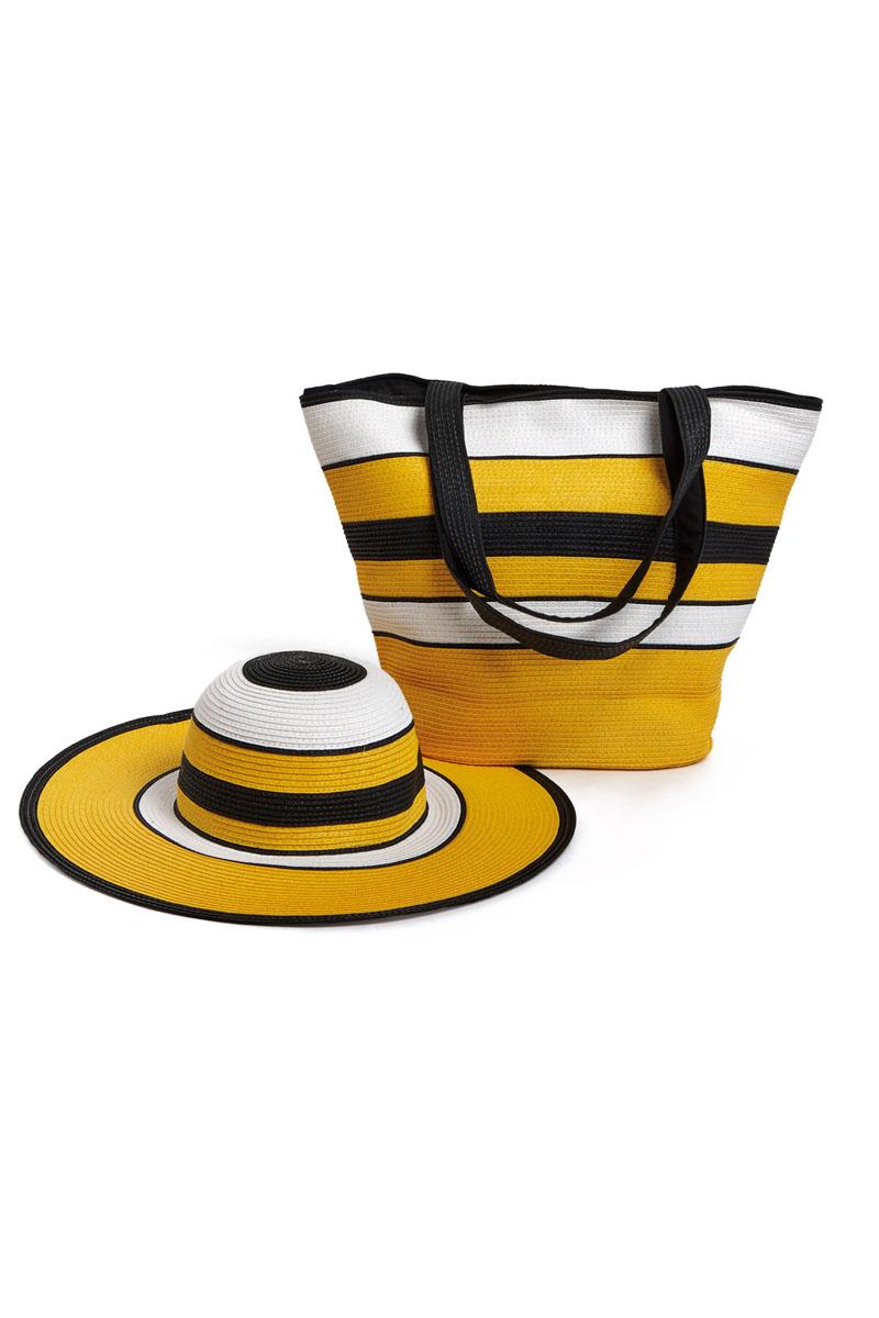 Комплект Moltini: сумка, шляпа, цвет: желтый, черный, белый. 15J01623008Оригинальный пляжный комплект Moltini, состоящий из сумки и шляпы, выполнен из плотного текстиля. Комплект выполнен в едином стиле и оформлен контрастной расцветкой.Сумка состоит из одного вместительного отделения и закрывается на магнитную кнопку. Внутри размещены два накладных кармана для телефона и мелочей и один вшитый карман на молнии. Оригинальная форма ручек и натуральные материалы делают эту сумку особенно удобной для ношения на плече.Шляпа надежно защитит волосы и лицо от ярких солнечных лучей. Шляпа выполнена в едином стиле с сумкой и достойно завершит комплект.Комплект Moltini идеально подойдет для похода на пляж, для загородной поездки.