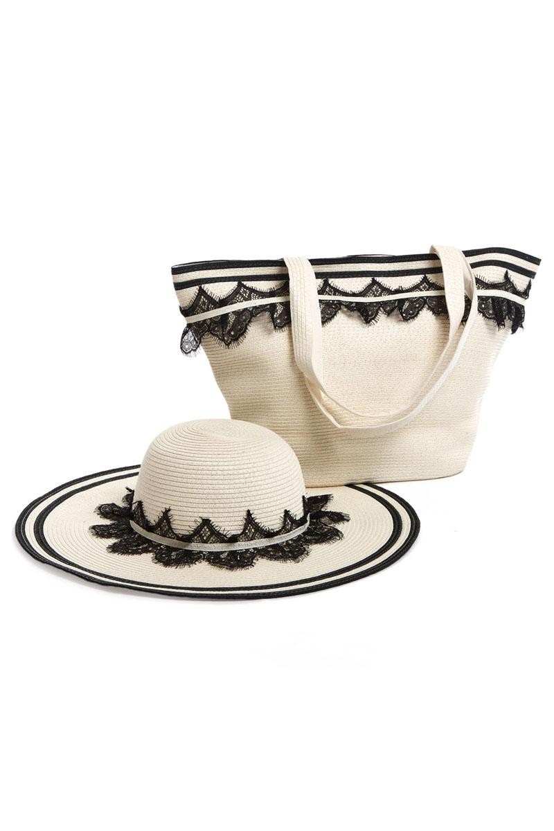 Комплект Moltini: сумка, шляпа, цвет: молочный, черный. 15A00110931-1Оригинальный пляжный комплект Moltini, состоящий из сумки и шляпы, выполнен из плотного текстиля. Комплект выполнен в едином стиле и оформлен кружевом.Сумка состоит из одного вместительного отделения и закрывается на магнитную кнопку. Внутри размещены два накладных кармана для телефона и мелочей и один вшитый карман на молнии. Оригинальная форма ручек и натуральные материалы делают эту сумку особенно удобной для ношения на плече.Шляпа надежно защитит волосы и лицо от ярких солнечных лучей. Шляпа выполнена в едином стиле с сумкой и достойно завершит комплект.Комплект Moltini идеально подойдет для похода на пляж, для загородной поездки.