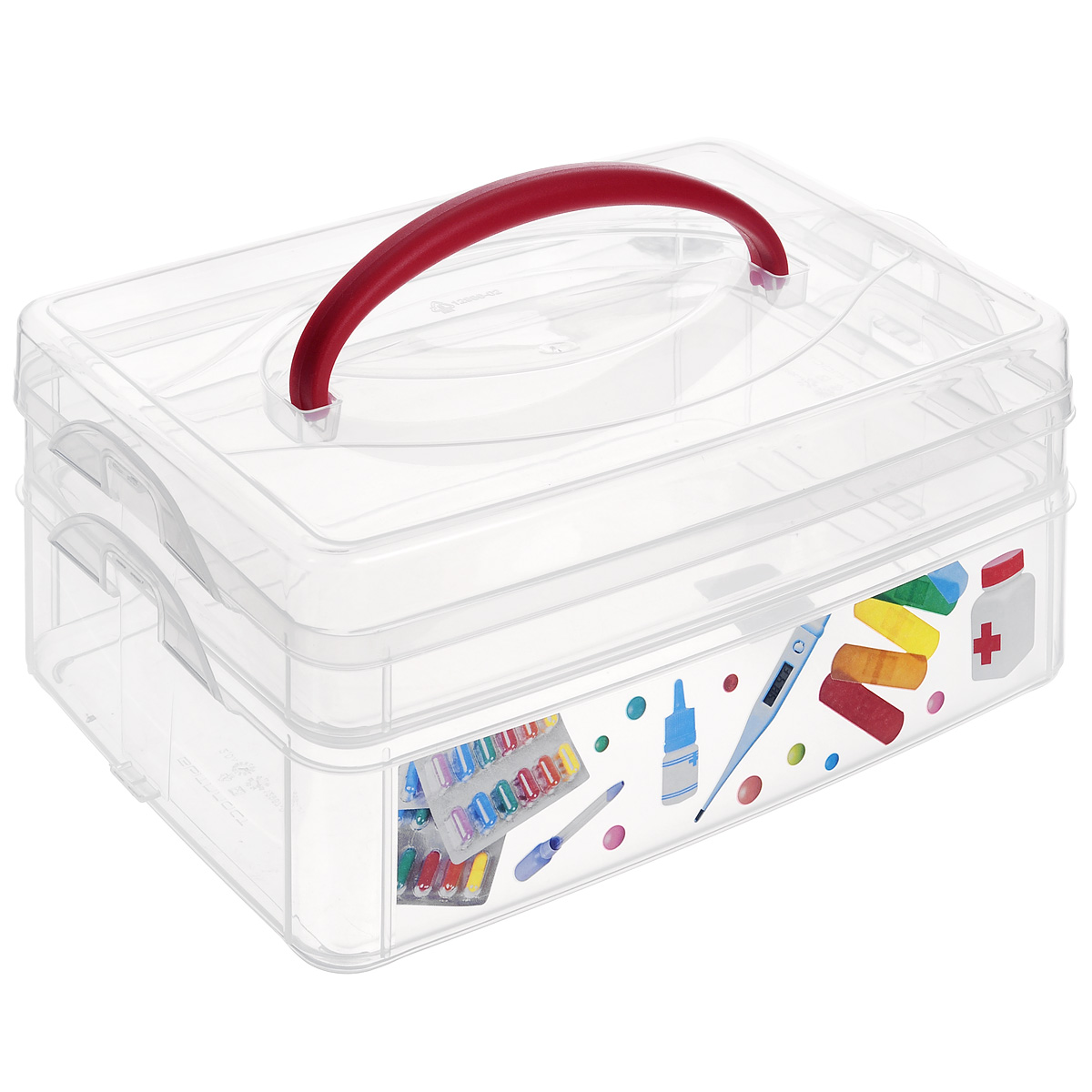 Контейнер для мелочей Econova Multi Box, с ручкой, 2 секции, 24,5 см х 16 см х 10,5 смRG-D31SКонтейнер для мелочей Econova Multi Box выполнен из высококачественного прозрачного пластика. Это отличное место для хранения материалов для рукоделия, различных аксессуаров. Изделие декорировано ярким рисунком. Контейнер легко открывается, оснащен двумя съемными отделениями и специальной пластиковой ручкой для переноски. Не требует особого ухода.Благодаря малым габаритам, контейнер занимает очень мало места. Контейнер Econova Multi Box - идеальное решение для аккуратного хранения вещей.Размер маленького отделения: 23,5 см х 15,5 см х 4,5 см.Размер большого отделения: 23,5 см х 15,5 см х 6 см.
