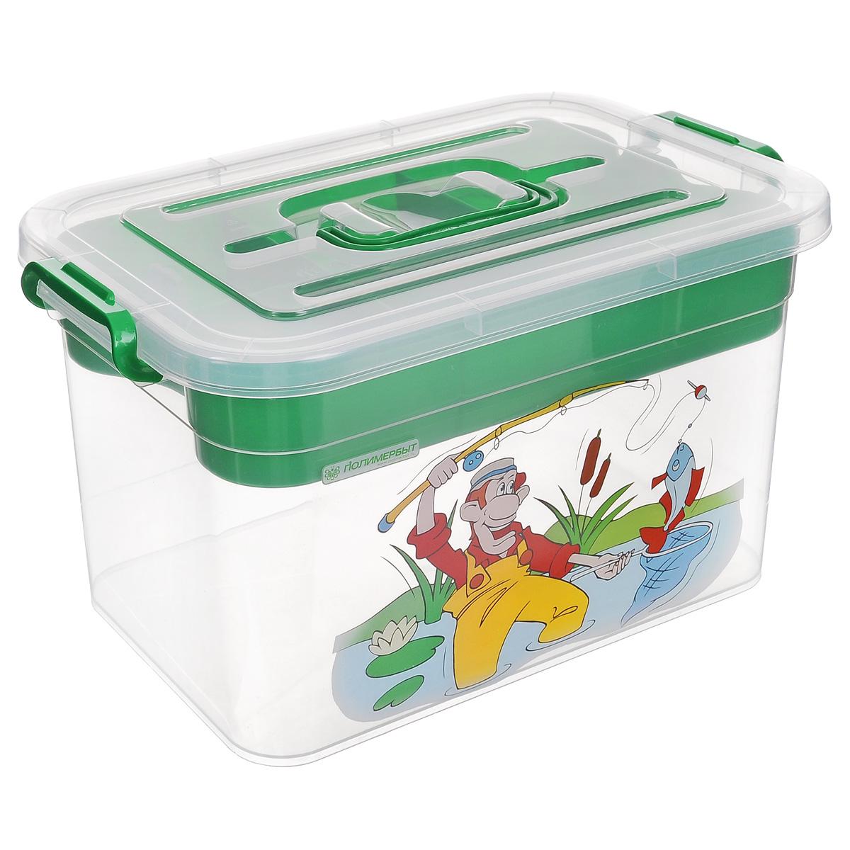 Контейнер для хранения Полимербыт Рыбалка, с вкладышем, цвет: зеленый, 10 лRG-D31SКонтейнер Полимербыт Рыбалка выполнен из прочного пластика и предназначен для хранения рыболовных принадлежностей. Внутри контейнера имеется съемный вкладыш с ячейками разной формы и размера, в котором можно хранить мелкие вещи. Закрывается контейнер при помощи крепких защелок по бокам, которые не допускают случайного открывания. Контейнер оснащен удобной ручкой, благодаря которой его можно без проблем переносить с места на место. Ручка прячется в крышке, что дает возможность размещать сверху другие контейнеры. Контейнер поможет хранить предметы для рыбалки в одном месте, а также защитить их от пыли и грязи. Размер вкладыша: 30,5 см х 20 см х 5 см. Размер самого большого отделения вкладыша: 20 см х 9,8 см х 4 см. Размер самого маленького отделения вкладыша: 9,8 см х 9,8 см х 4 см.