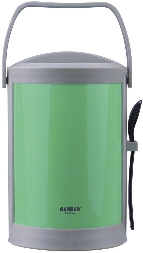 Термоконтейнер Bekker, цвет: зеленый, серый, 1,8 лFA-5125 WhiteТермоконтейнер Bekker изготовлен из высококачественного пищевого пластика. Предназначен для хранения пищевых продуктов, для этого предусмотрены три круглые емкости с крышками, которые позволяют хранить сразу три разных блюда. Двойные стенки термоконтейнера поддерживают температуру продуктов до 3-4 часов. Контейнер снабжен удобной ручкой для переноски, а также ложкой, которая крепится в специальное отверстие снаружи корпуса. Стильный и функциональный термос будет незаменим в дороге, а также на пикнике. Его можно взять с собой куда угодно, и вы всегда сможете наслаждаться горячей домашней пищей. Объем емкостей: 300 мл, 300 мл, 500 мл. Размер емкостей: 11 х 11 х 4,5 см; 11 х 11 х 7 см. Длина ложки: 16 см. Размер термоконтейнера: 15 х 15 х 24 см.