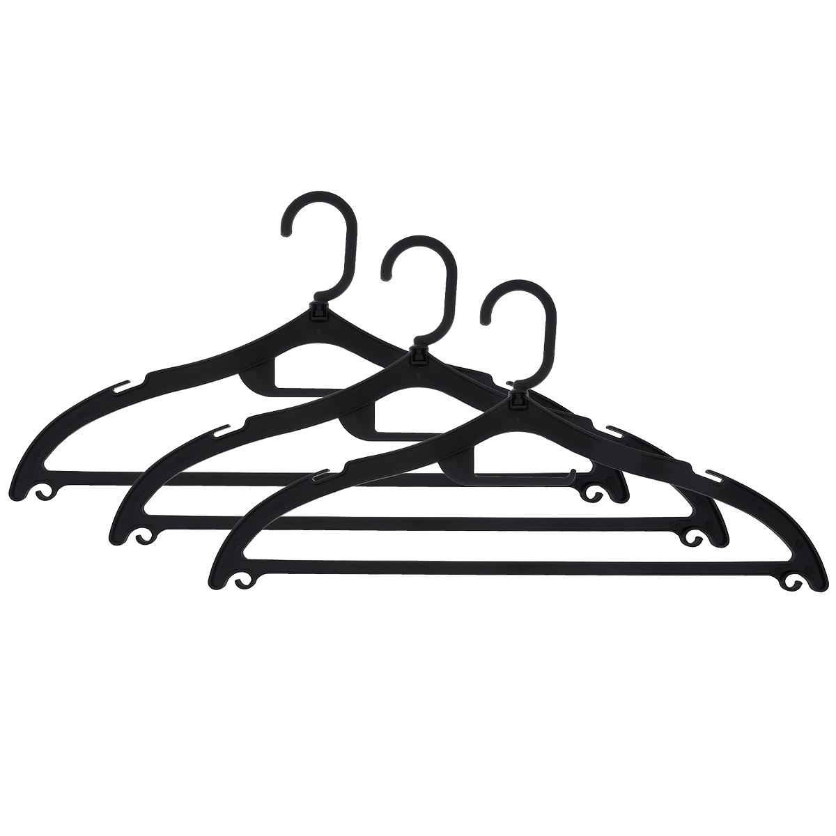 Набор вешалок Полимербыт, с перекладиной, с крючками, цвет: черный, размер 48-50, 3 шт. С322С322Набор Полимербыт, выполненный из прочного пластика, состоит из 3 вешалок.Каждое изделие оснащено перекладиной, боковыми крючками, крючком для галстуков, а также выемками для петелек одежды. Вешалка - это незаменимая вещь для того, чтобы ваша одежда всегда оставалась в хорошем состоянии.Комплектация: 3 шт.Размер одежды: 48-50.