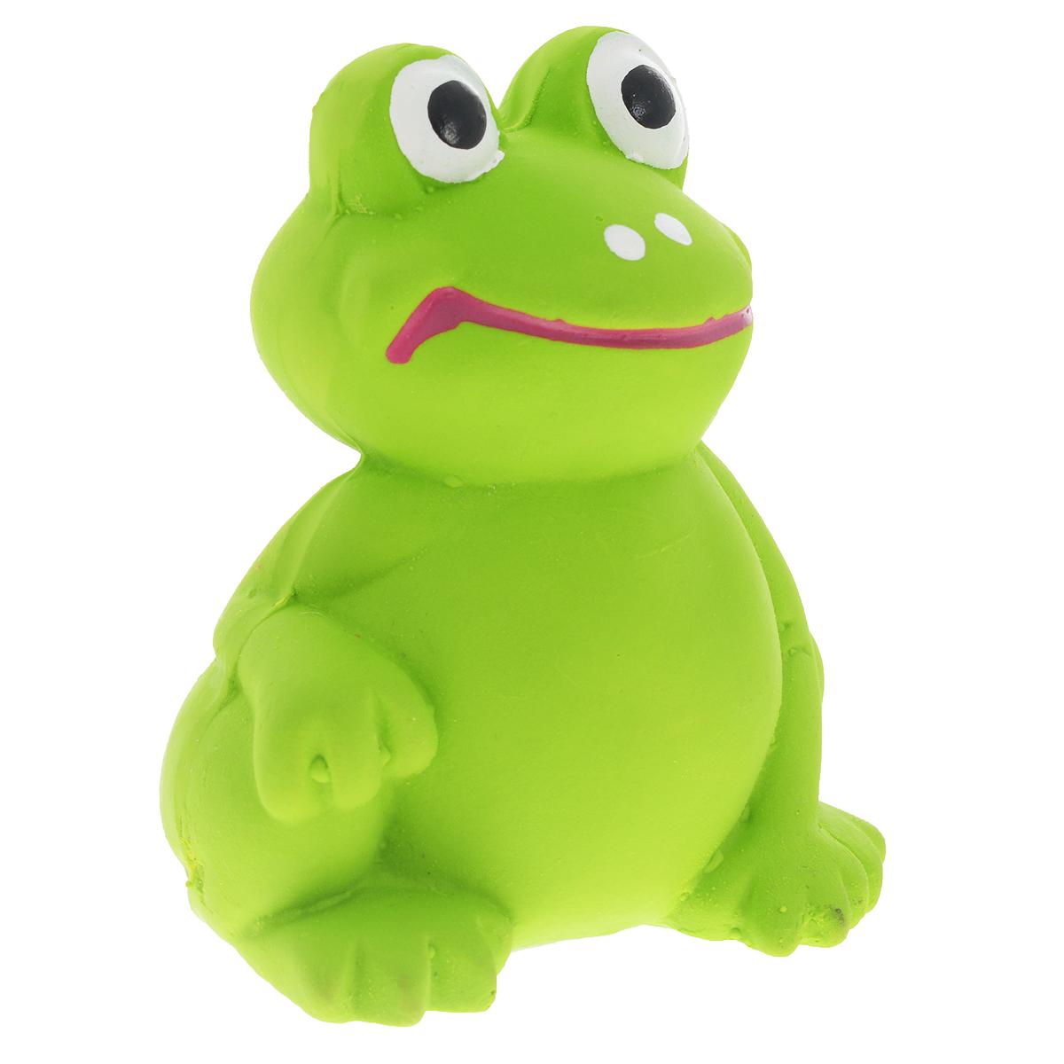 Игрушка для собак V.I.Pet Лягушка, цвет: зеленый0120710Игрушка V.I.Pet Лягушка изготовлена из латекса с использованием только безопасных, не токсичных красителей. Великолепно подходит для игры и массажа десен вашей собаки.Забавная лягушка при надавливании или захвате пастью, пищит. Такая игрушка порадует вашего любимца, а вам доставит массу приятных эмоций, ведь наблюдать за игрой всегда интересно и приятно. Оставшись в одиночестве, ваша собака будет увлеченно играть в эту игрушку.