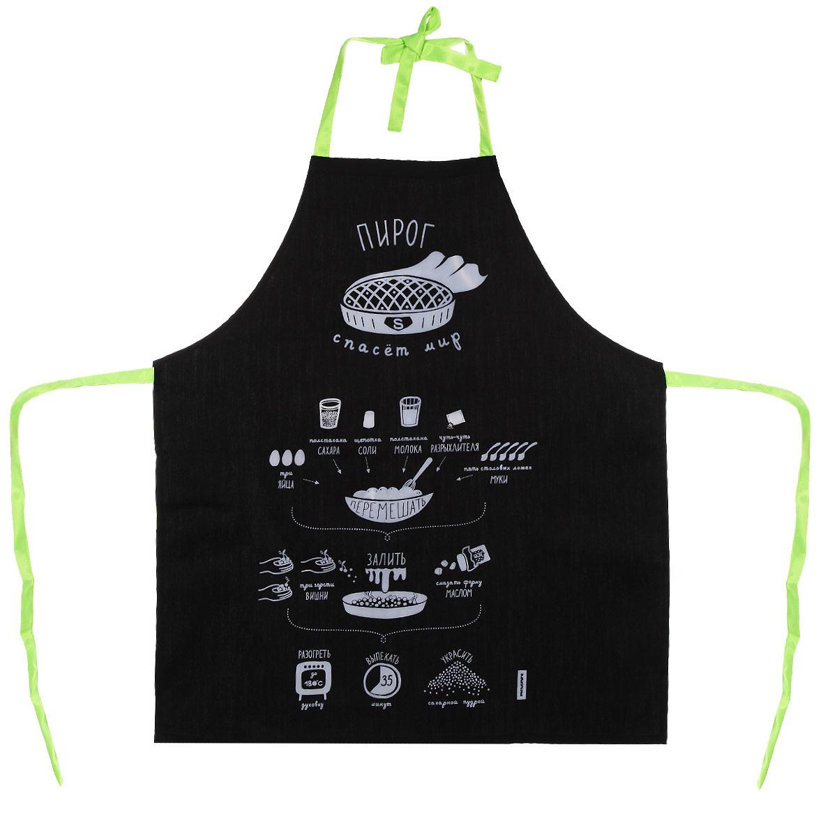 Фартук Melompo Пирог, 76 х 68 смVT-1520(SR)Фартук Melompo Пирог поможет вам избежать попадания еды на вашу одежду во время приготовления какого-либо блюда. Выполнен из хлопка и полиэстера. На фартуке имеются удобная лямка и завязки.На фартук нанесен рецепт простого и вкусного вишневого пирога.Крой универсальный, подходит кулинарам обоих полов и разных комплекций.