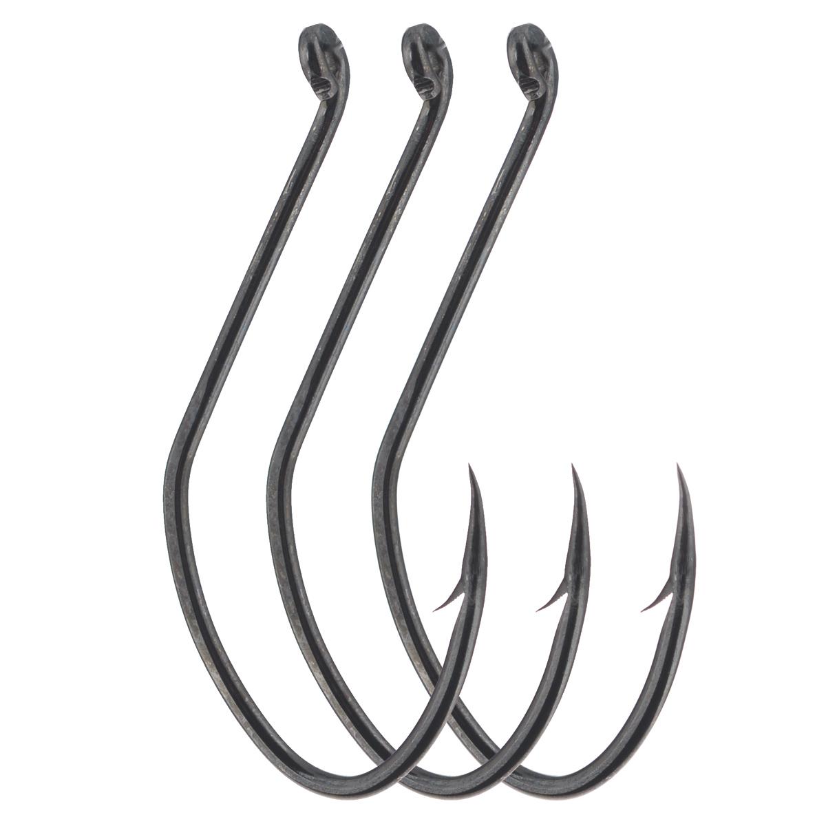 Крючки рыболовные Cobra Catfish, цвет: черный, размер 8/0, 3 штLJ4100-015Прочные крючки Cobra Catfish для ловли трофейной рыбы, прекрасно удерживает различные насадки. Данные крючки хорошо себя зарекомендовали при ловле на живую насадку - своим весом они не стесняют ее движений. Благодаря специальной заточке жала, крючок легко пробивает прочную хрящевую и костную ткань. Чуть отогнутое назад колечко позволяет привязывать крючок к леске различными способами.