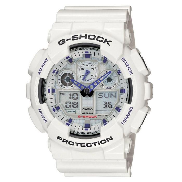 Наручные часы Casio GA-100A-7ABM8434-58AEВодонепроницаемые и противоударные часы Casio GA-100.Длина ремешка с учетом корпуса 24,5 см.Ширина ремешка 2,2 см.Диаметр корпуса 5 см.