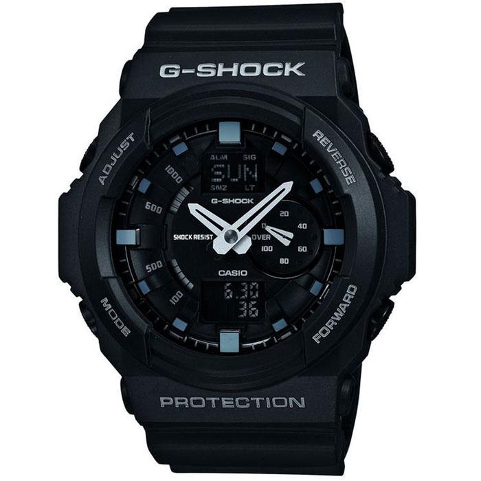 Наручные часы Casio GA-150-1ABM8434-58AEЧасы водонепроницаемые и противоударные Casio GA-150. Автоматическая светодиодная подсветка:Для подсветки дисплея используется светодиод, а так же имеет функцию автоматического включения подсветки, если Вы наклоните часы к своему лицу. Ударопрочность:Ударопрочная конструкция защищает от ударов и вибрации. Функция мирового времени:Отображение текущего времени в основных городах и конкретных областях по всему миру. Функция секундомера - 1/1000 сек. - 100 часов:Измерение с точностью до тысячной доли секунды времени прохождения круга и общего времени.Звуковые сигналы подтверждают начало или остановку секундомера. Предел измерений измерений составляет 100 часов.Таймер - 1/1 мин. - 24 часа (с автоматическим повтором):Для поклонников точности: таймеры обратного отсчета напомнят Вам о текущих или особенных событиях, издав звуковой сигнал в установленное время.Время можно предварительно настроить от 1 минуты и до 24 часов. Часы могут затем автоматически начать отсчет в обратного времени в установленное время. Идеальное решение для людей, которым необходимо ежедневнопринимать лекарства или выполнять промежуточные упражнения (тренировки). 5 ежедневных будильников:Будильник напомнит Вам о повторяющихся событиях с помощью звукового сигнала, установленного Вами на определенное время. Вы также можете активировать почасовой сигнал времени, сообщающий о каждом полном часе. Эта модель имеет пять независимых будильников для оповещения о важных встречах. Функция повтора будильника:Каждый раз, когда Вы выключаете звуковой сигнал, он прозвучит повторно спустя несколько минут.Отображение скорости:Можно рассчитать среднюю скорость пройденного маршрута. Просто введите расстояние на начало и нажмите на секундомер при достижении пункта назначения - будет отображена средняя скорость. Автоматический календарь:После настройки автоматический календарь всегда отображает точную дату. 12/24-часовое отображение времени:Отображение времени можно в 12-часовом или