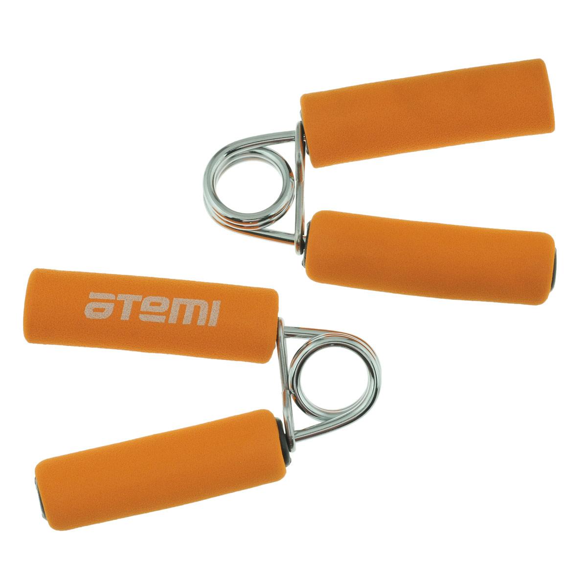 Эспандер кистевой Atemi, цвет: оранжевый, 2 шт. AHG-02RJ0207AКистевой эспандер Atemi предназначен для укрепления и тренировки мышц пальцев, рук и запястий. Ручки выполнены из мягкого неопрена.В набор входят два эспандера.Размер эспандера: 12 см х 10,5 см.